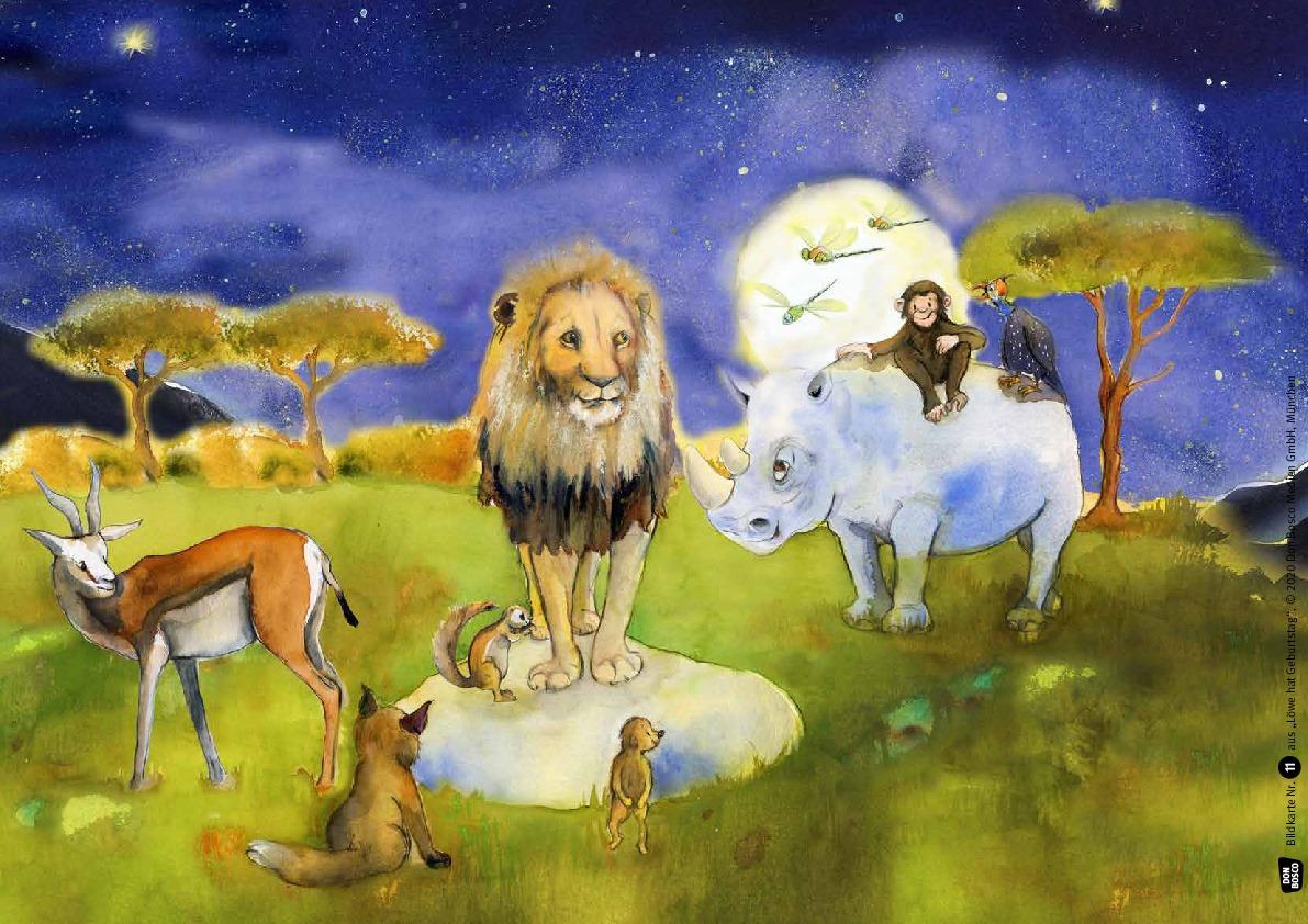 Innenansicht zu Löwe hat Geburtstag. Kamishibai Bildkartenset.