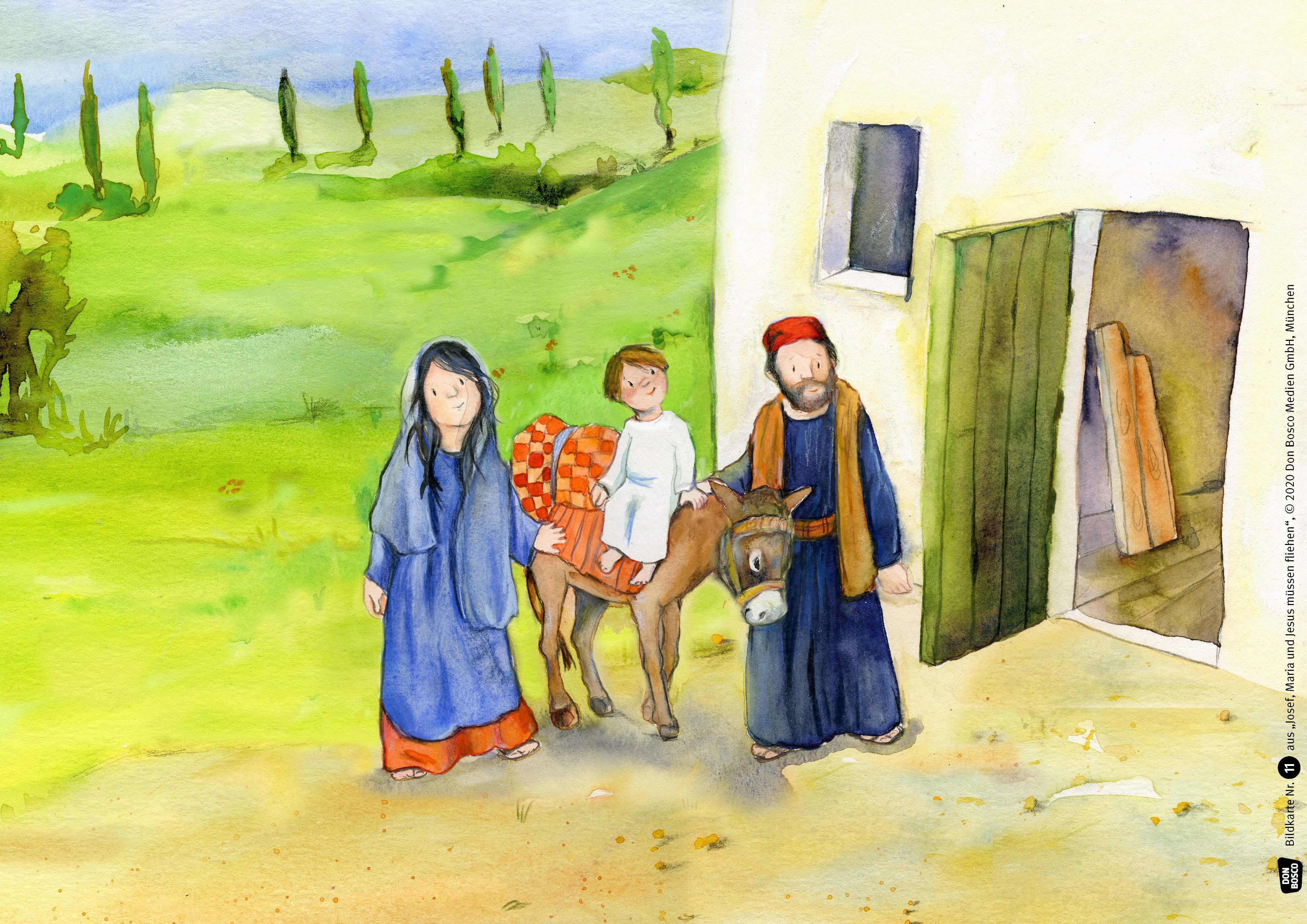Innenansicht zu Josef, Maria und Jesus müssen fliehen. Kamishibai Bildkartenset.