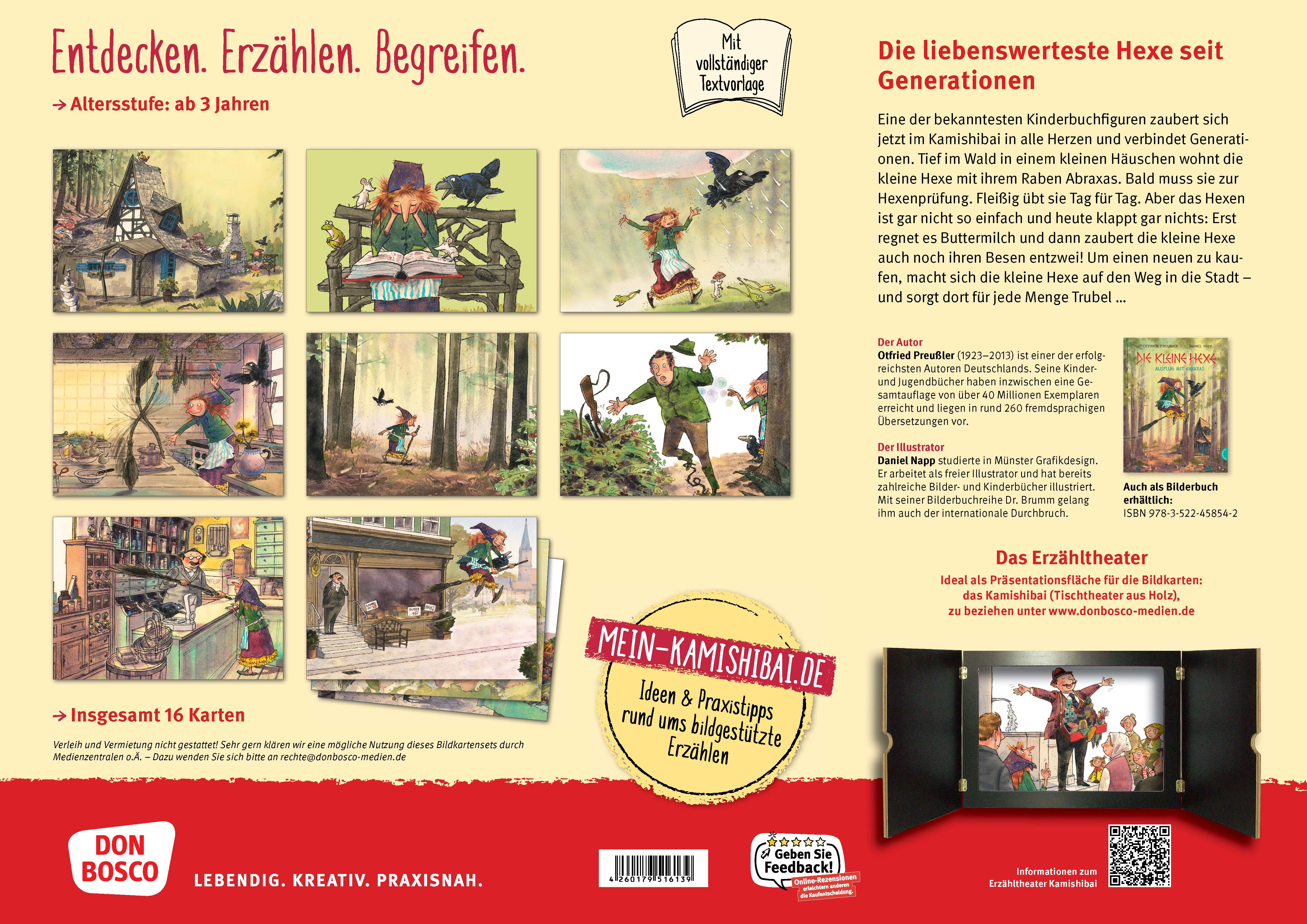 Innenansicht zu Die kleine Hexe: Ausflug mit Abraxas. Kamishibai Bildkartenset.