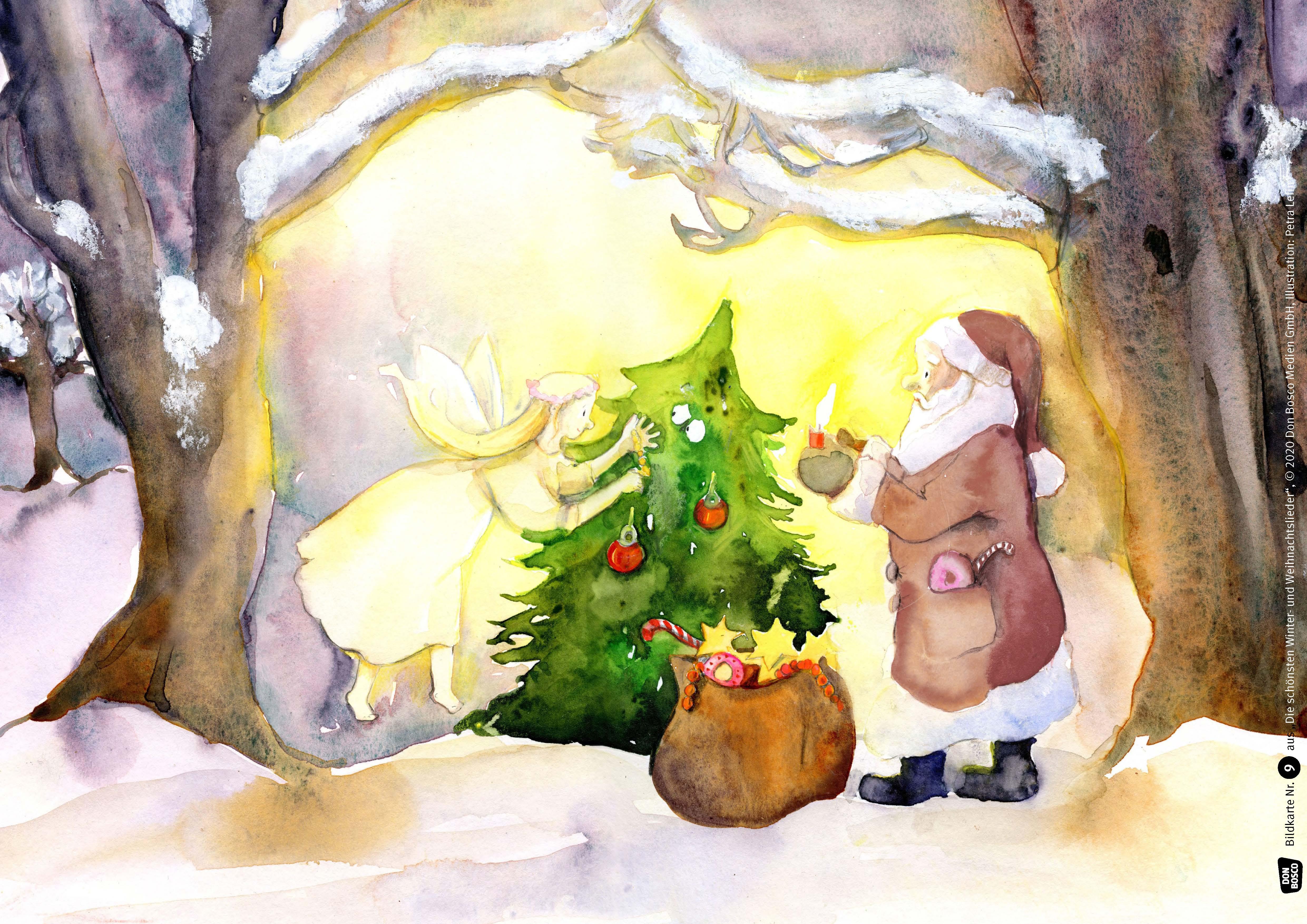 Innenansicht zu Die schönsten Winter- und Weihnachtslieder im Kamishibai. Kamishibai Bildkartenset.