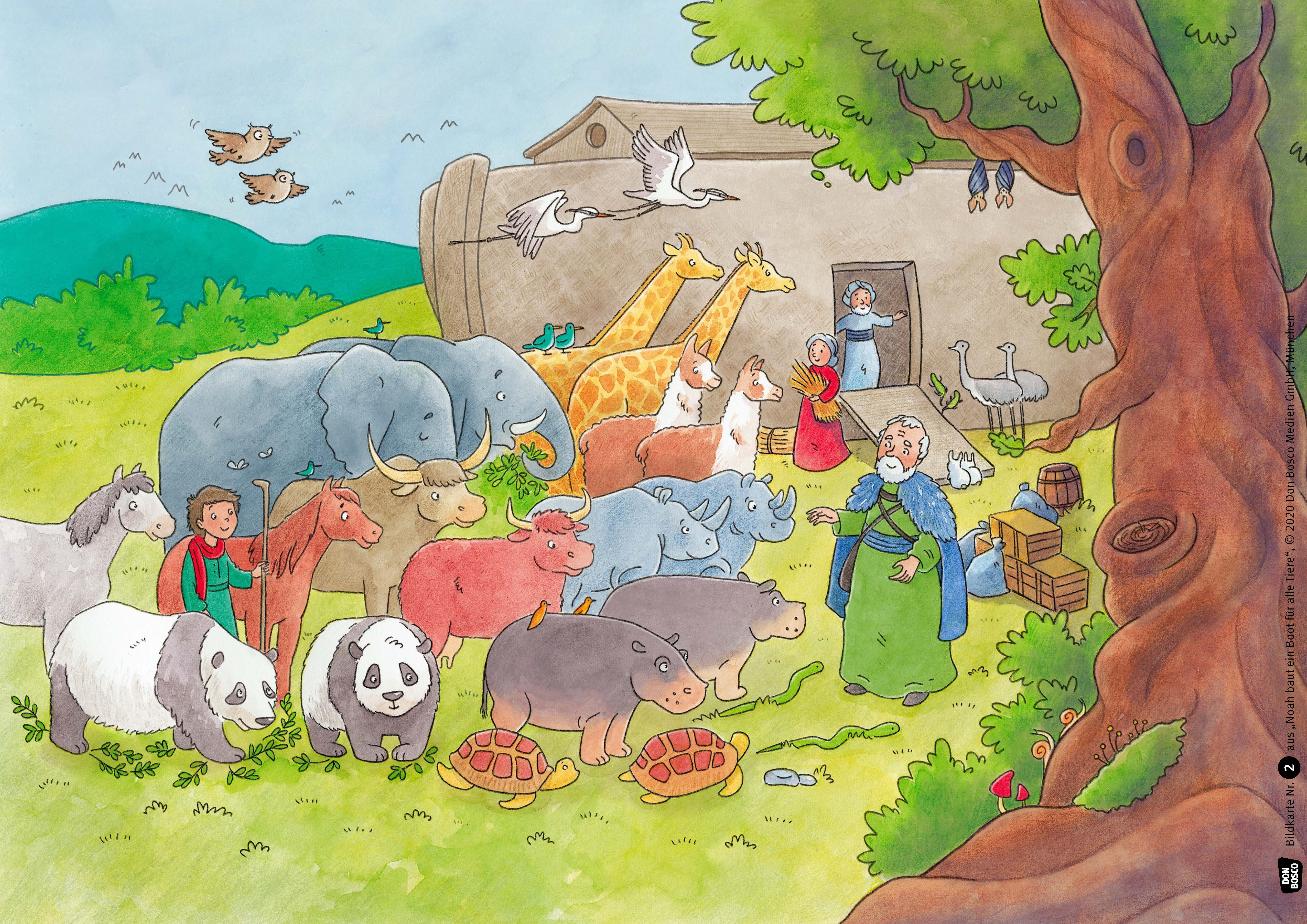 Innenansicht zu Noah baut ein Boot für alle Tiere. Kamishibai Bildkartenset.