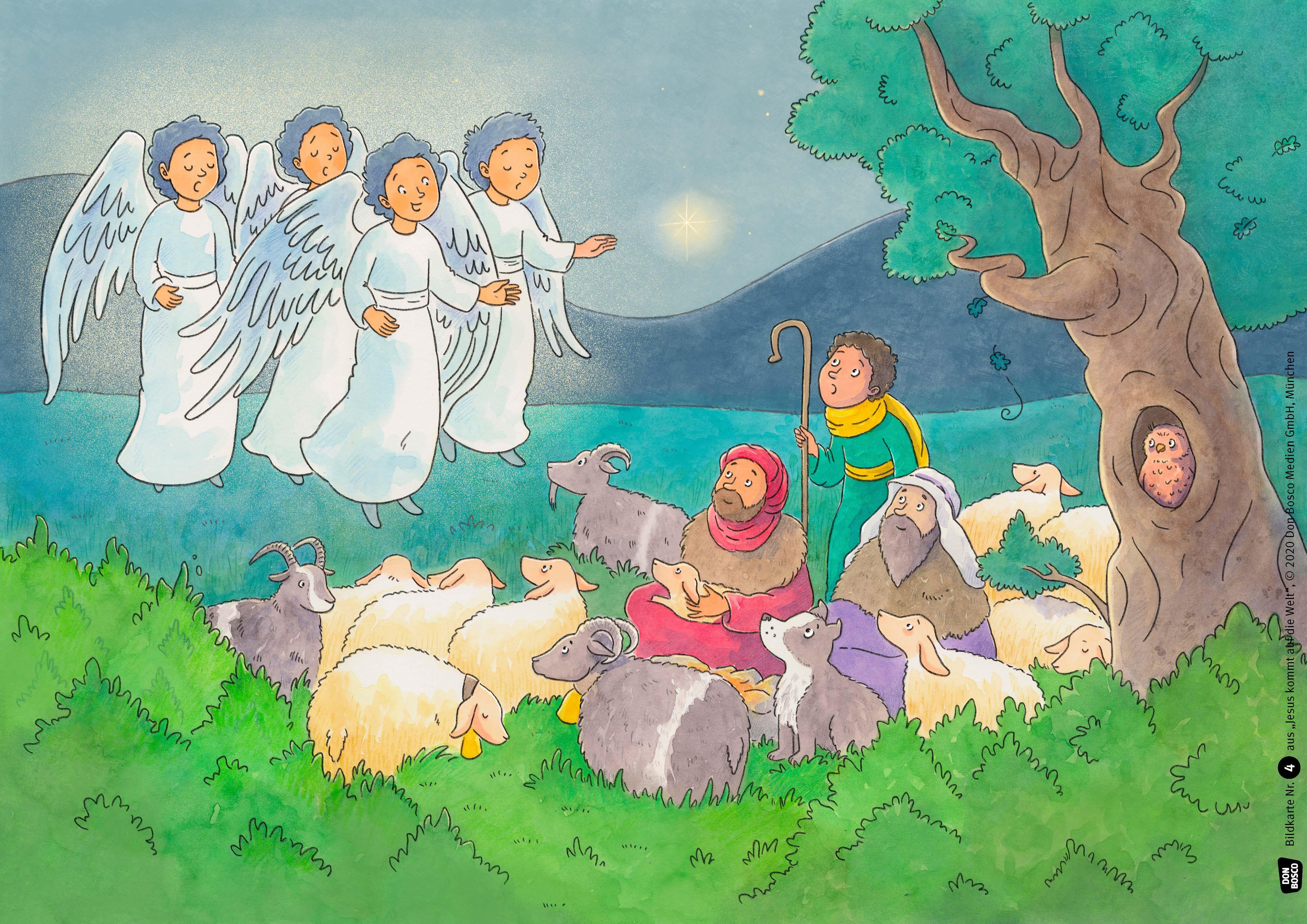 Innenansicht zu Jesus kommt auf die Welt. Kamishibai Bildkartenset.
