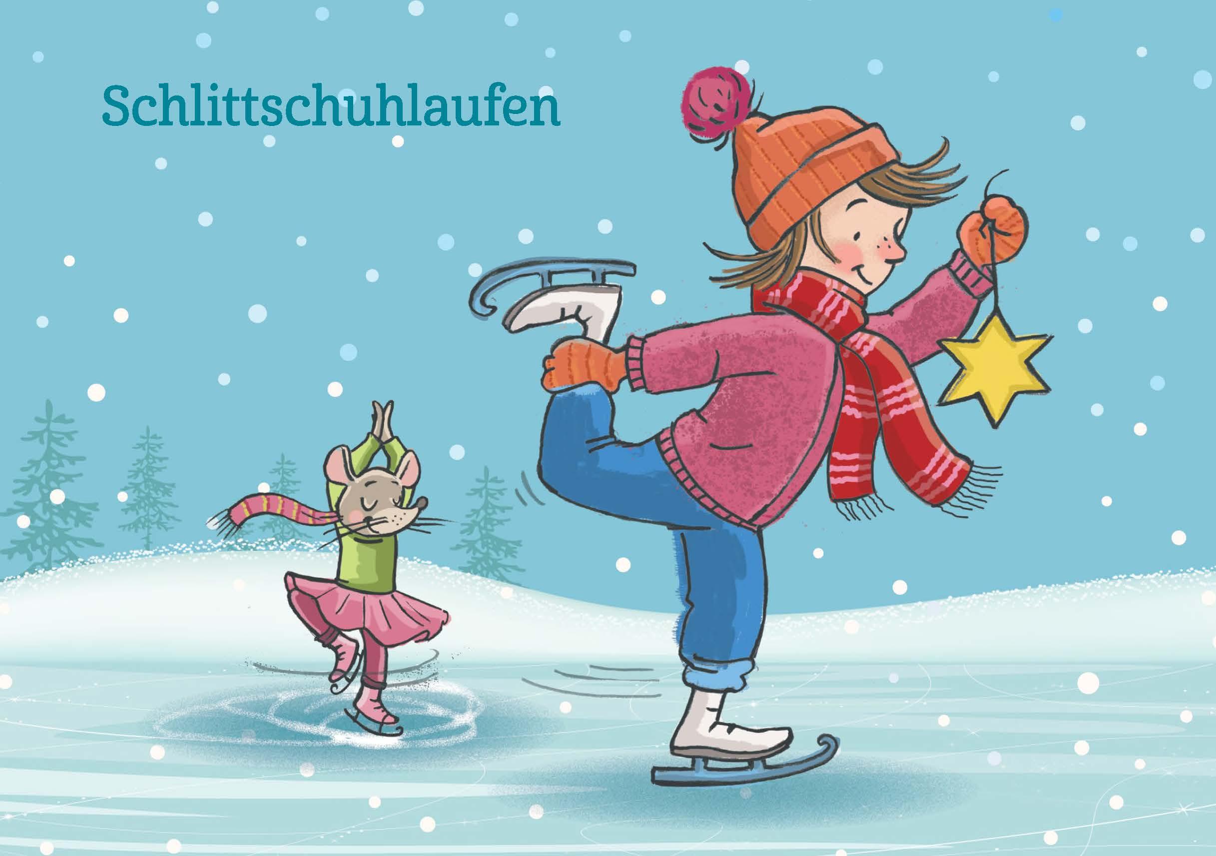 Innenansicht zu Kinderyoga-Bildkarten zur Winter- und Weihnachtszeit