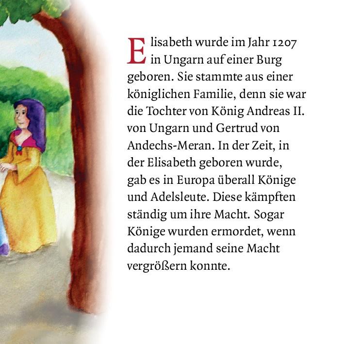 Innenansicht zu Elisabeth von Thüringen und das Rosenwunder. Mini-Bilderbuch.