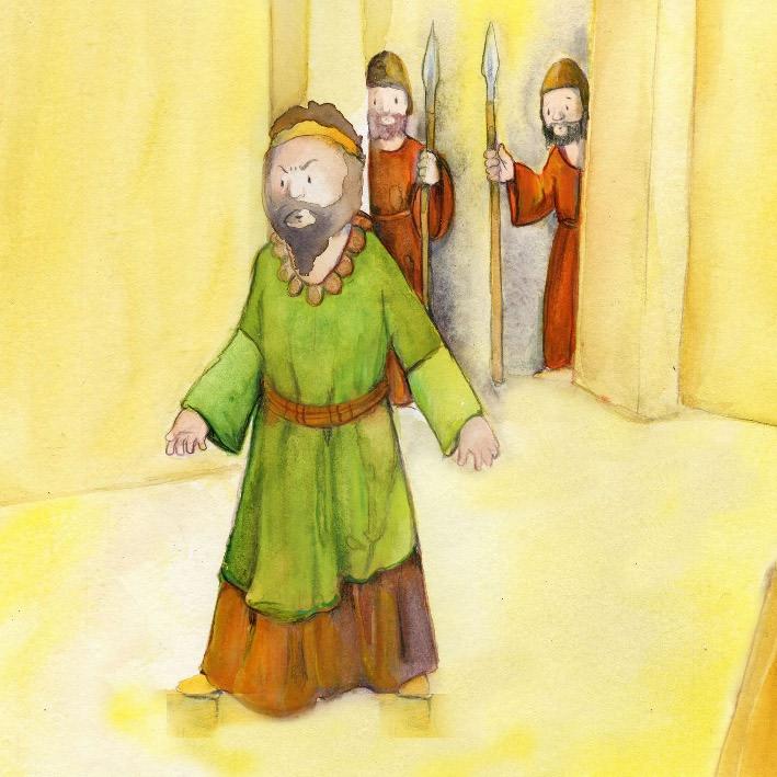 Innenansicht zu Josef, Maria und Jesus müssen fliehen. Mini-Bilderbuch.