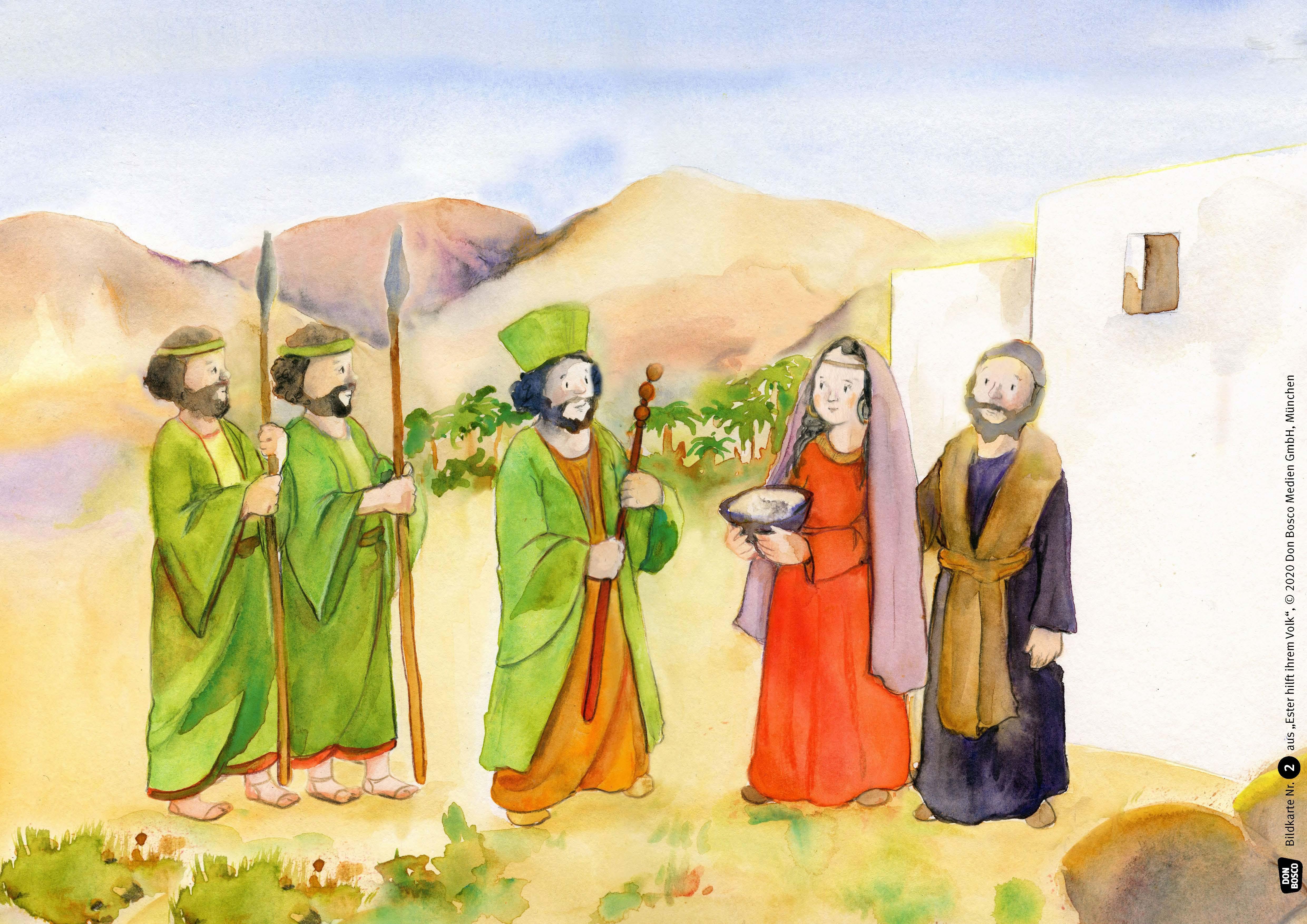 Innenansicht zu Ester hilft ihrem Volk. Kamishibai Bildkartenset.