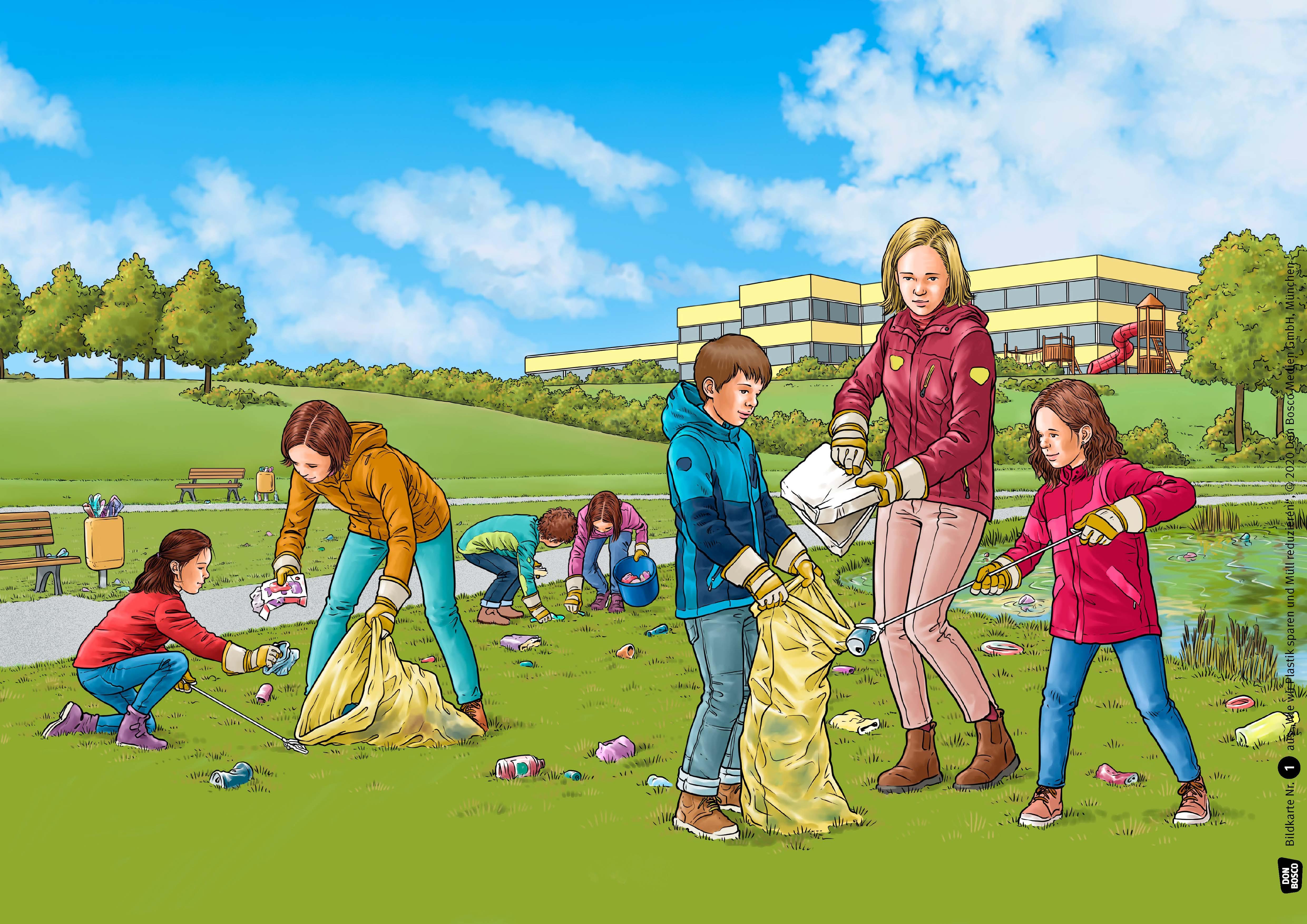 Innenansicht zu Wie wir Plastik sparen und Müll reduzieren. Kamishibai Bildkartenset.