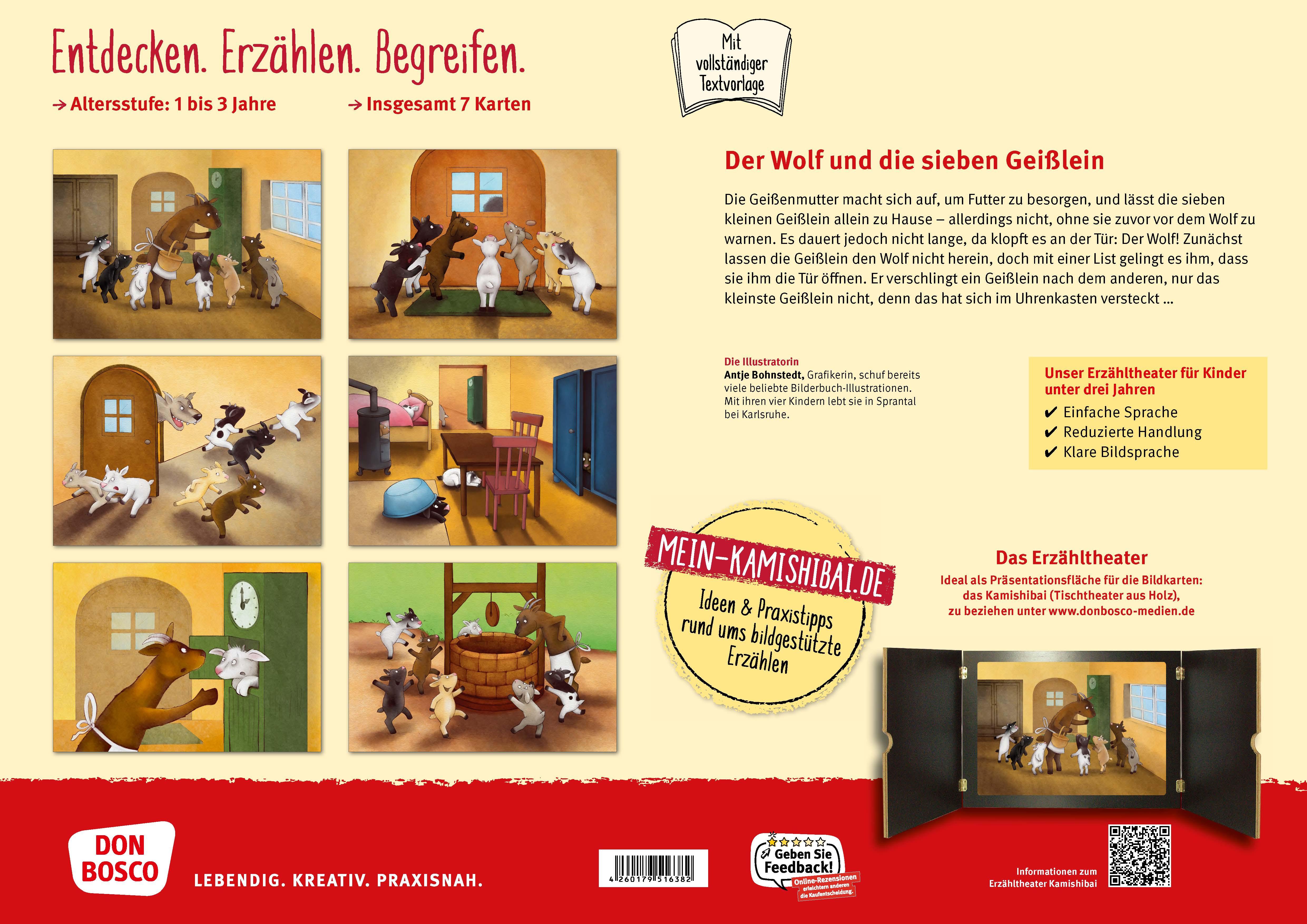 Innenansicht zu Der Wolf und die sieben Geißlein. Kamishibai Bildkartenset.