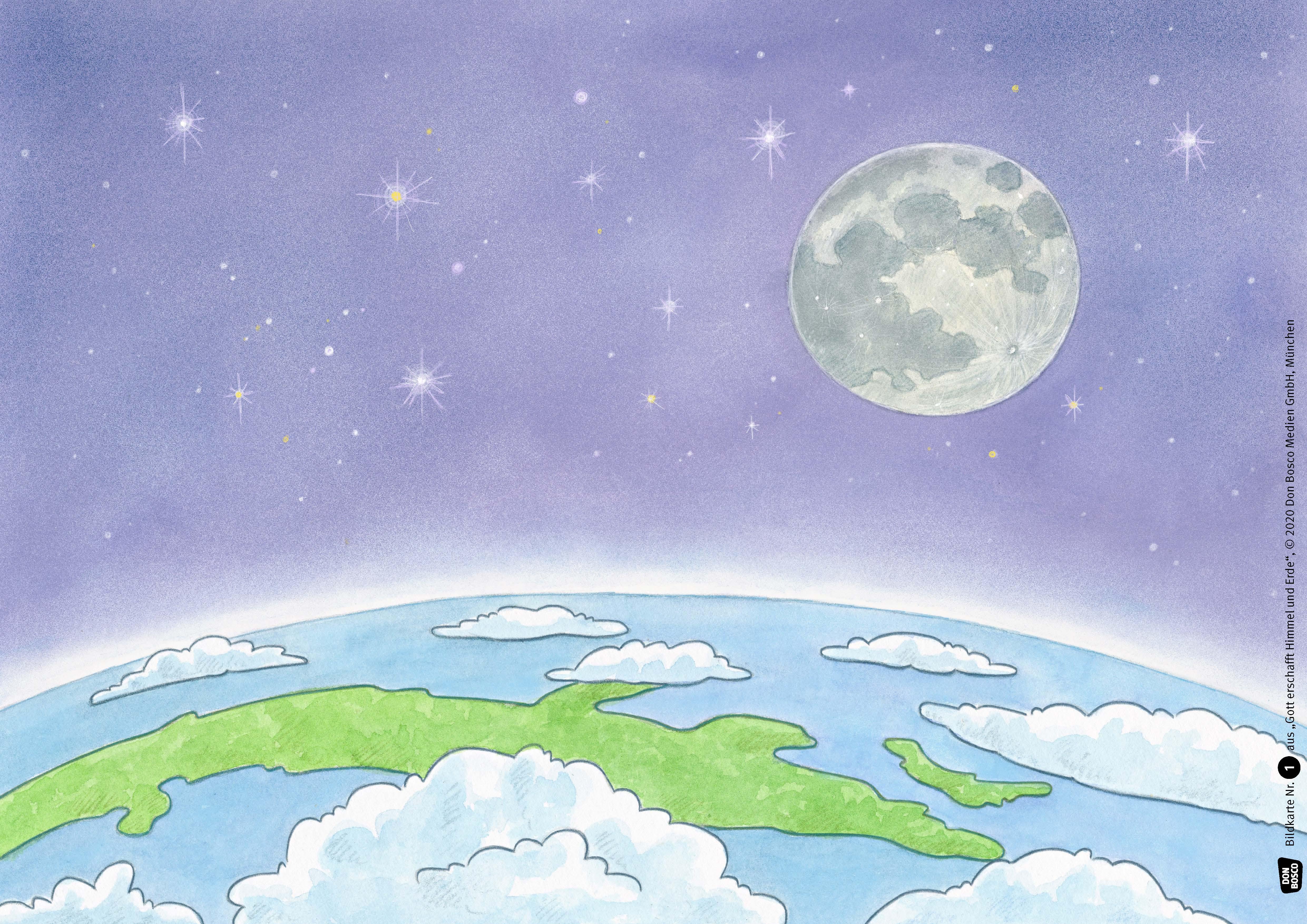 Innenansicht zu Gott erschafft Himmel und Erde. Kamishibai Bildkartenset.