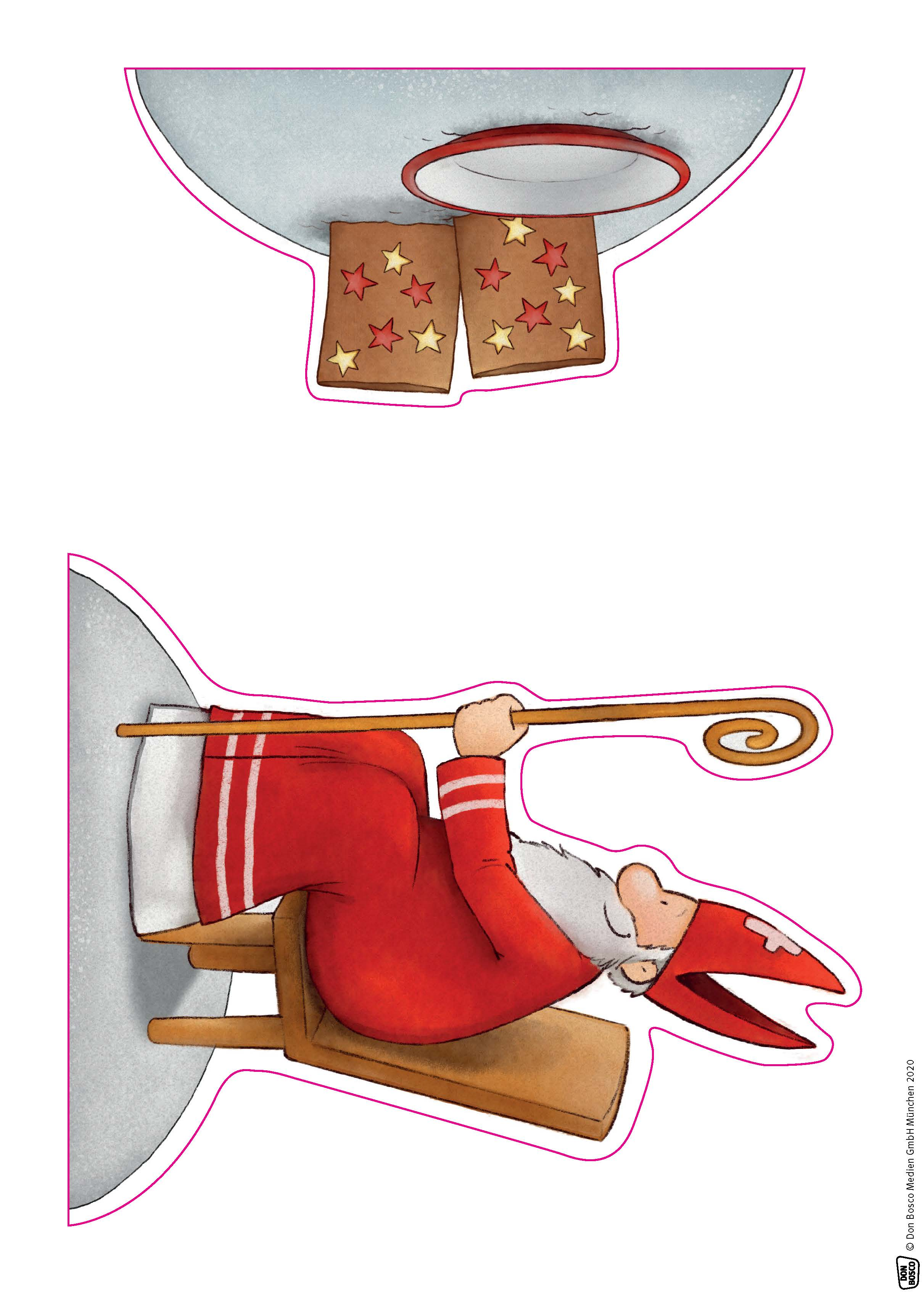 Innenansicht zu Emma und Paul feiern Nikolaus. Spielfiguren für die Erzählschiene.