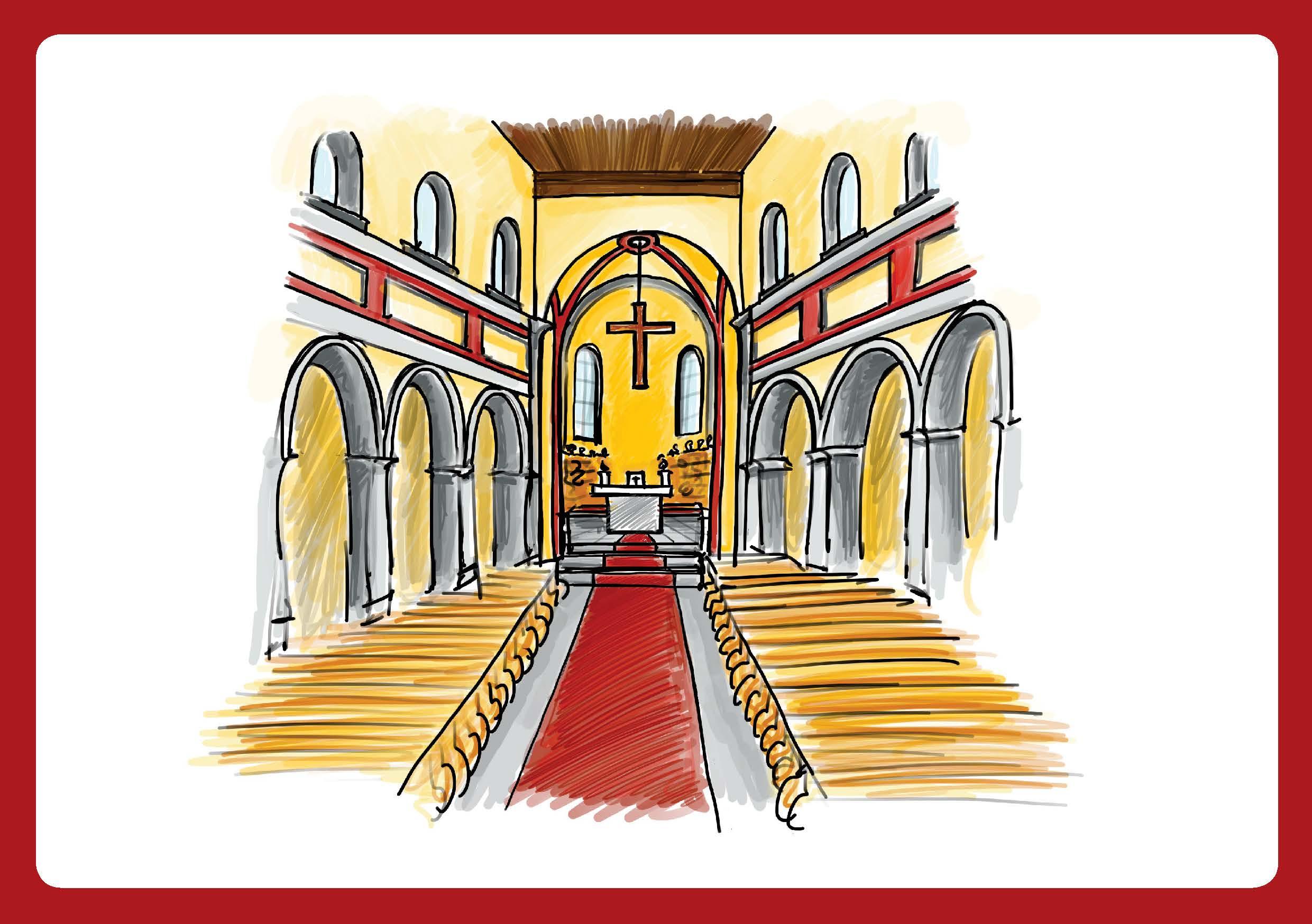 Innenansicht zu Kinder entdecken den Kirchenraum