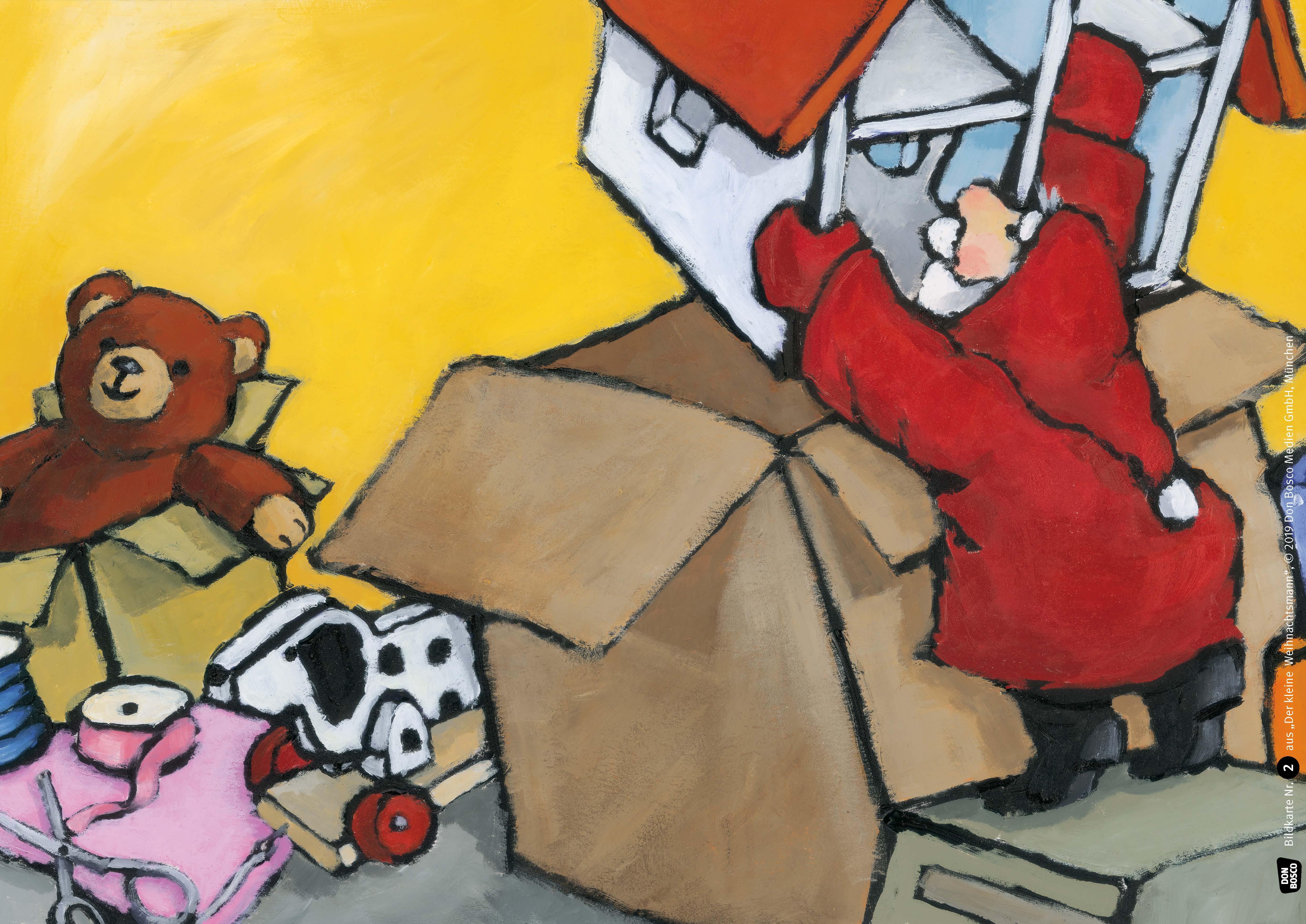 Innenansicht zu Der kleine Weihnachtsmann. Kamishibai Bildkartenset.