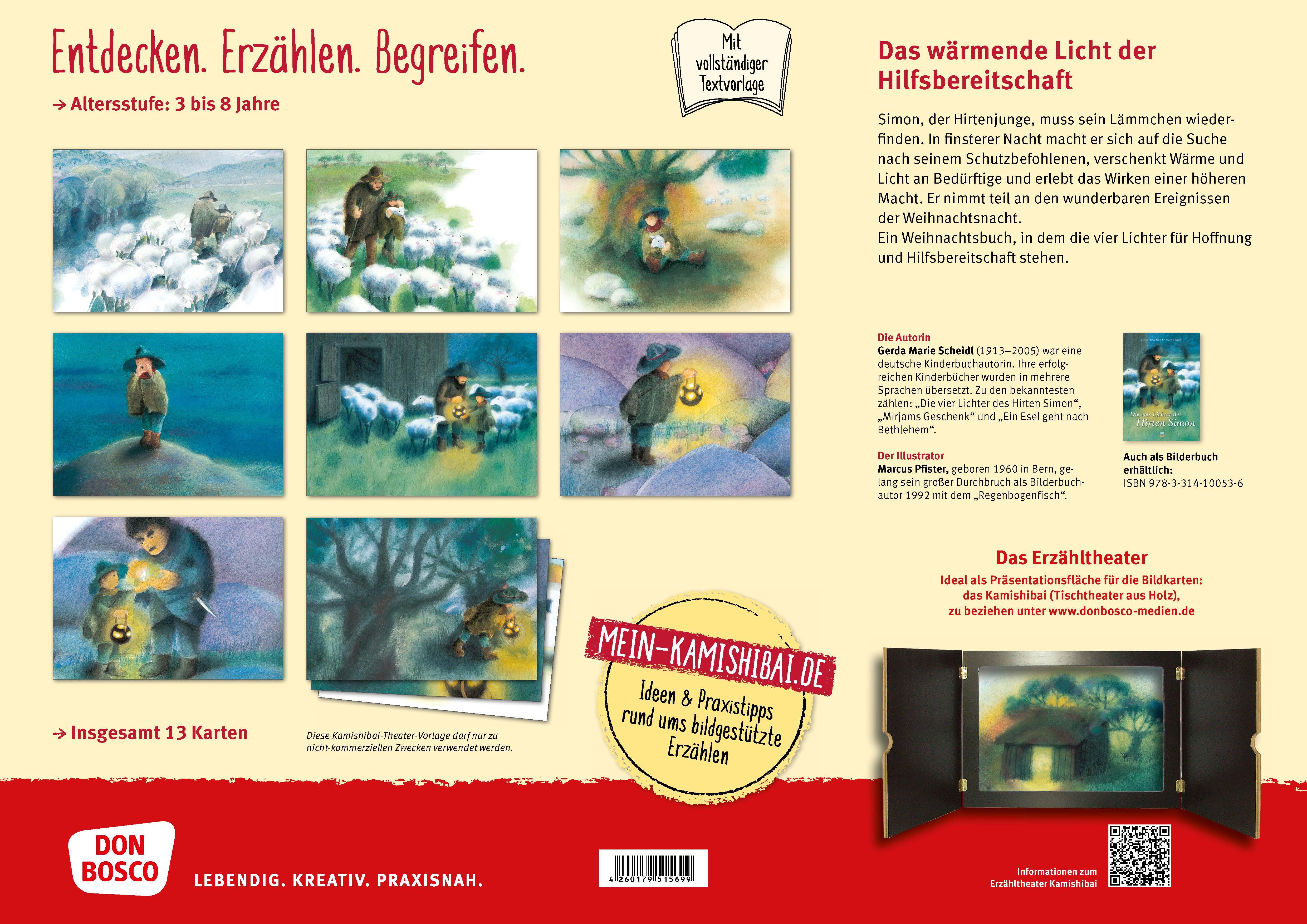 Innenansicht zu Die vier Lichter des Hirten Simon. Kamishibai Bildkartenset.