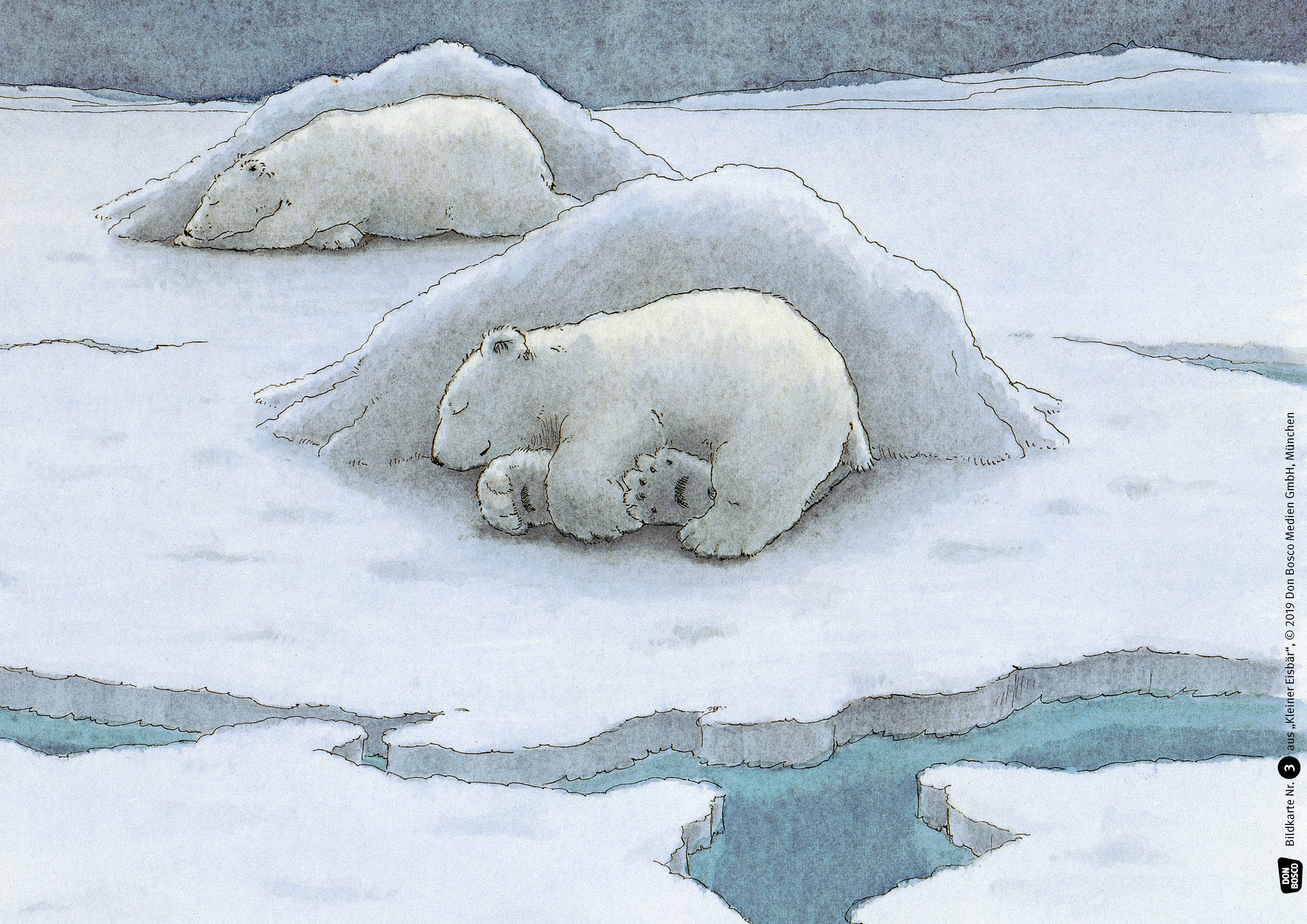 Innenansicht zu Kleiner Eisbär. Wohin fährst du, Lars? Kamishibai Bildkartenset.