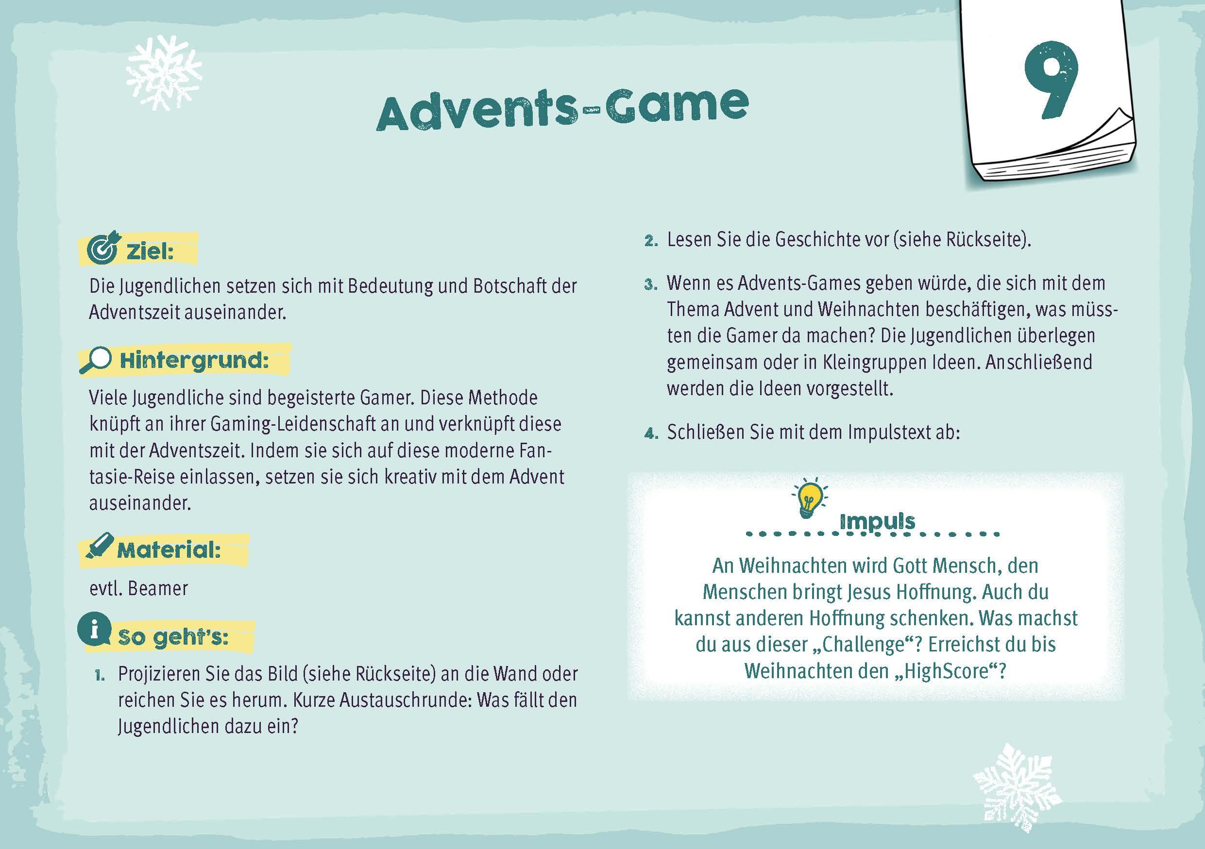 Innenansicht zu 24 plus X zündende Ideen für Advent und Weihnachten mit Jugendlichen
