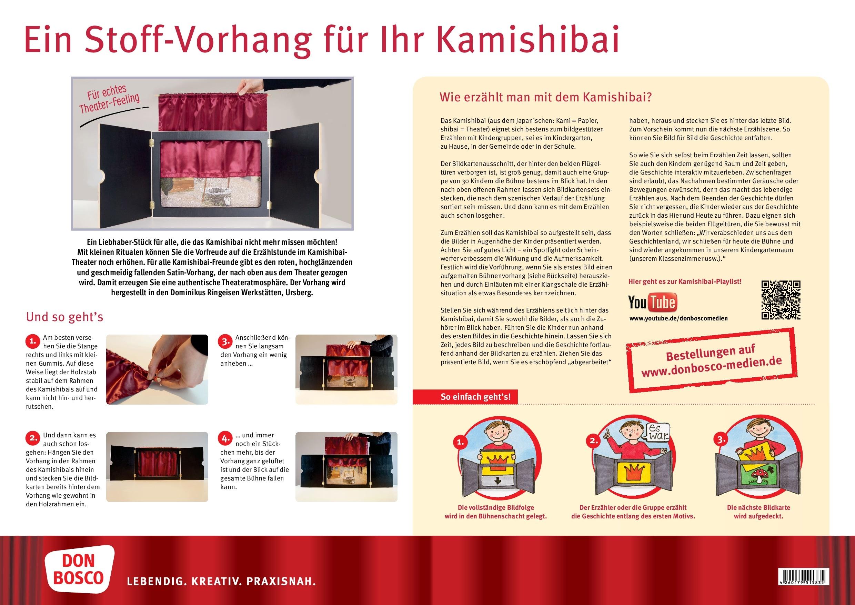 """Innenansicht zu Vorhang """"Mein Kamishibai"""" aus rotem Satin, geschmeidig und hochglänzend: Sorgt für authentische Theateratmosphäre oder Kinoflair"""