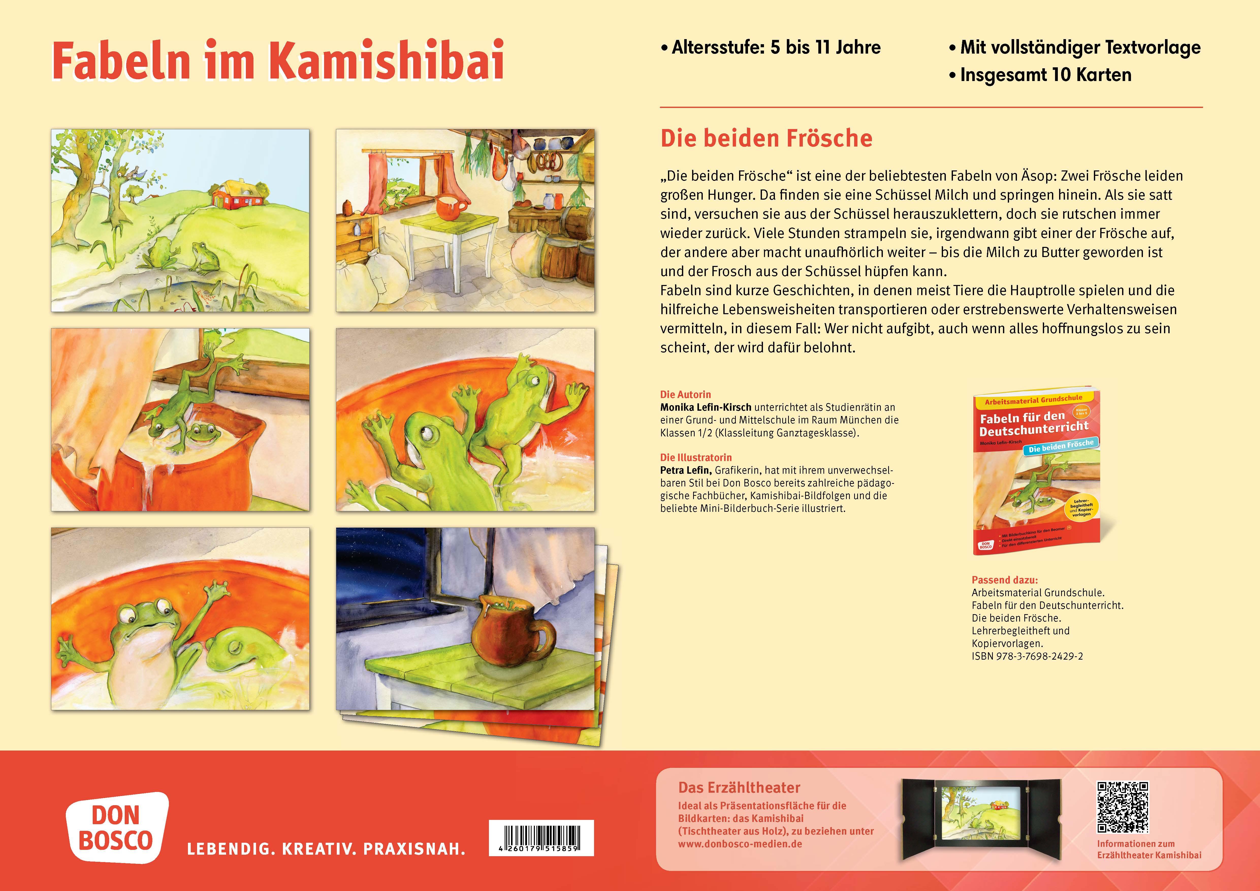 Innenansicht zu Die beiden Frösche. Eine Fabel von Äsop. Kamishibai Bildkartenset.