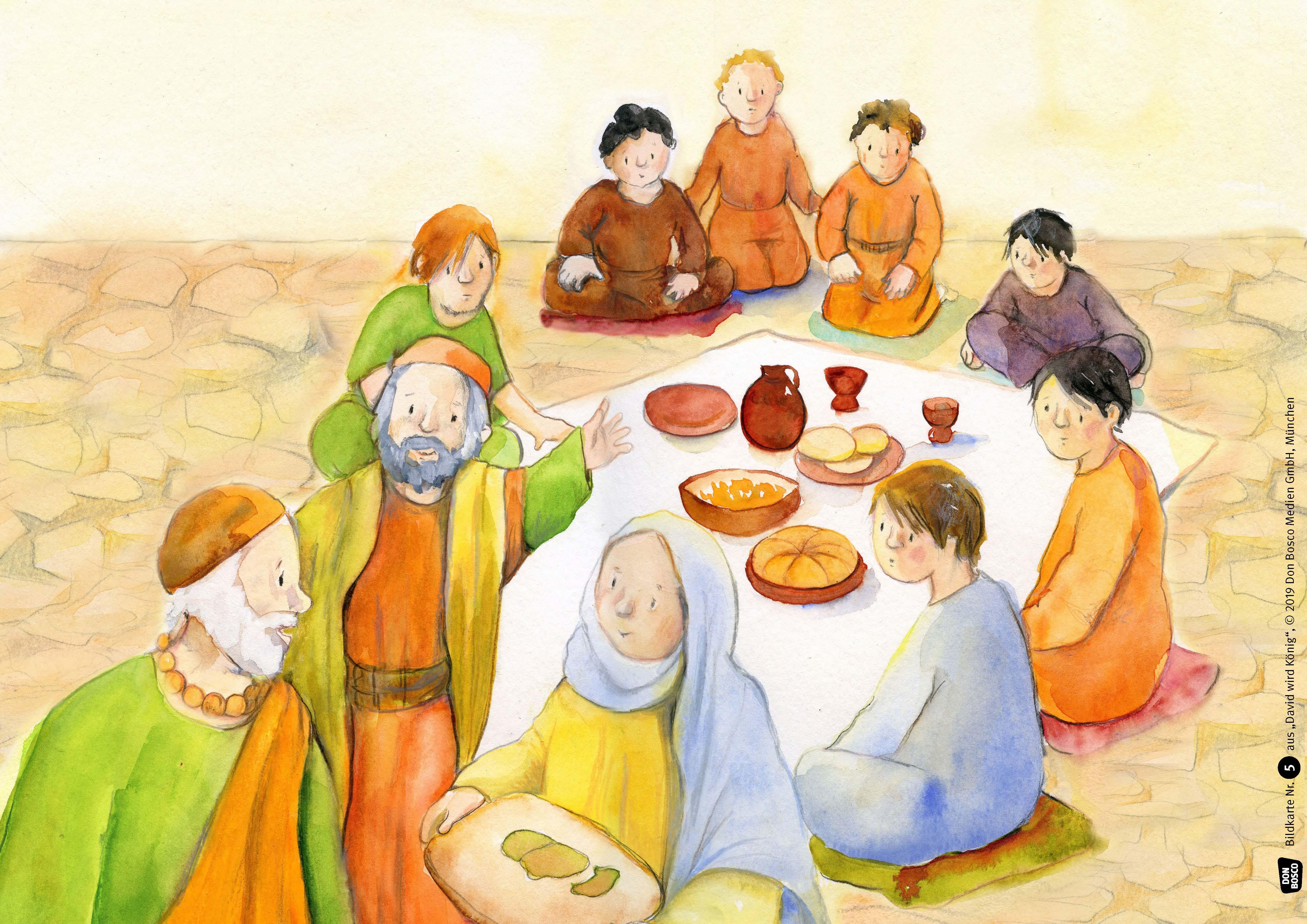 Innenansicht zu David wird König. Kamishibai Bildkartenset.