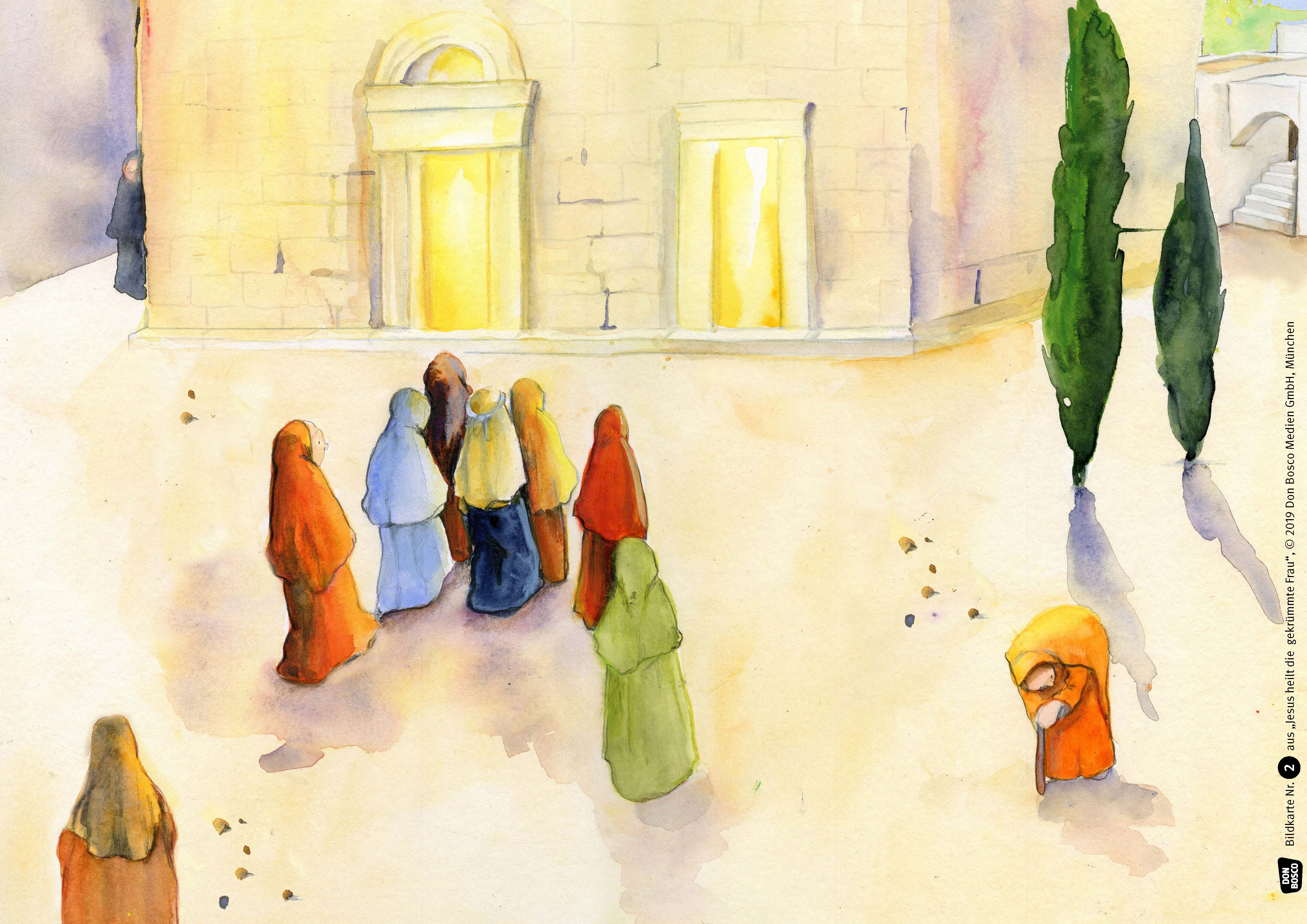 Innenansicht zu Jesus heilt die gekrümmte Frau. Kamishibai Bildkartenset.