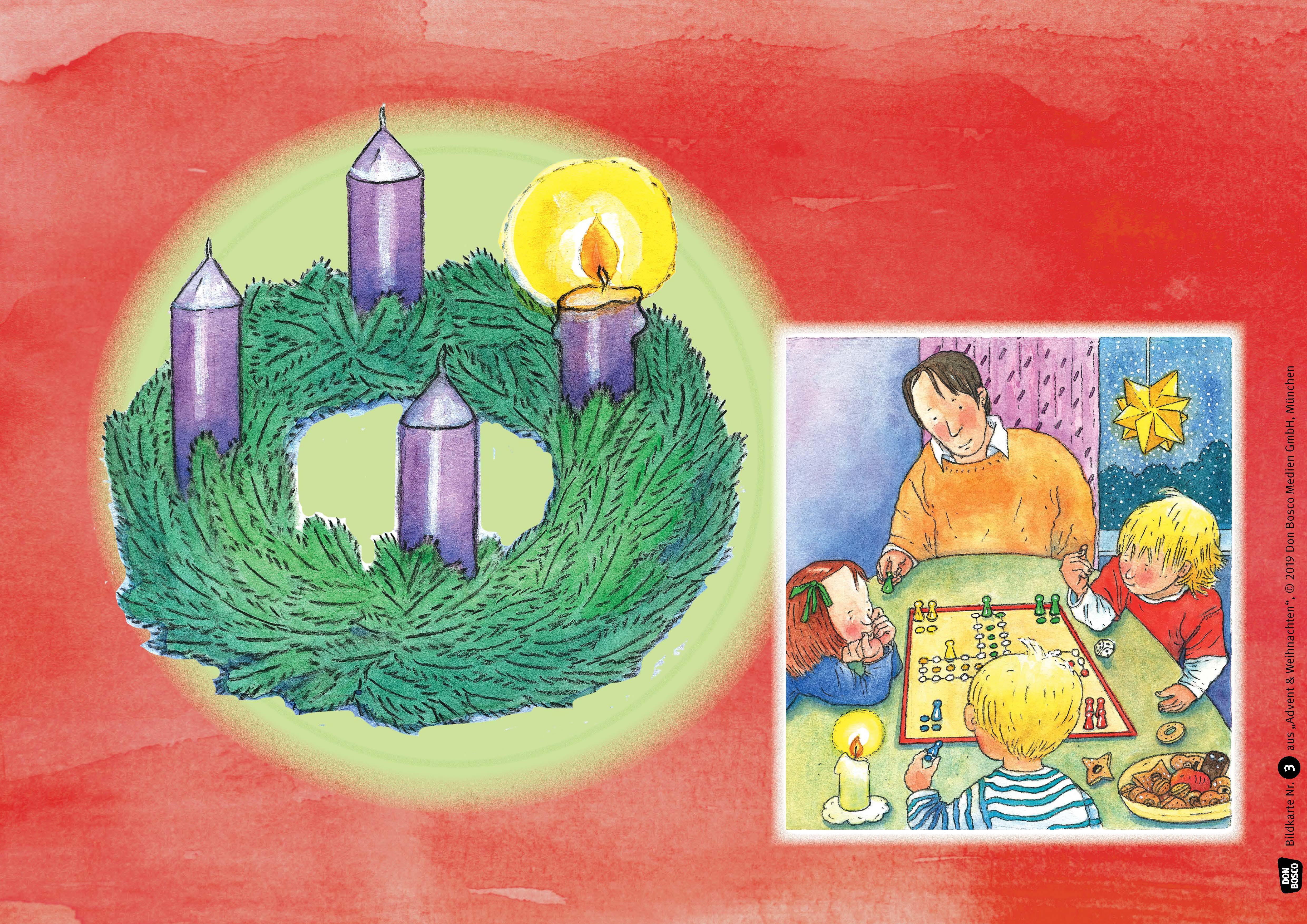 Innenansicht zu Advent und Weihnachten. Kamishibai Bildkartenset.