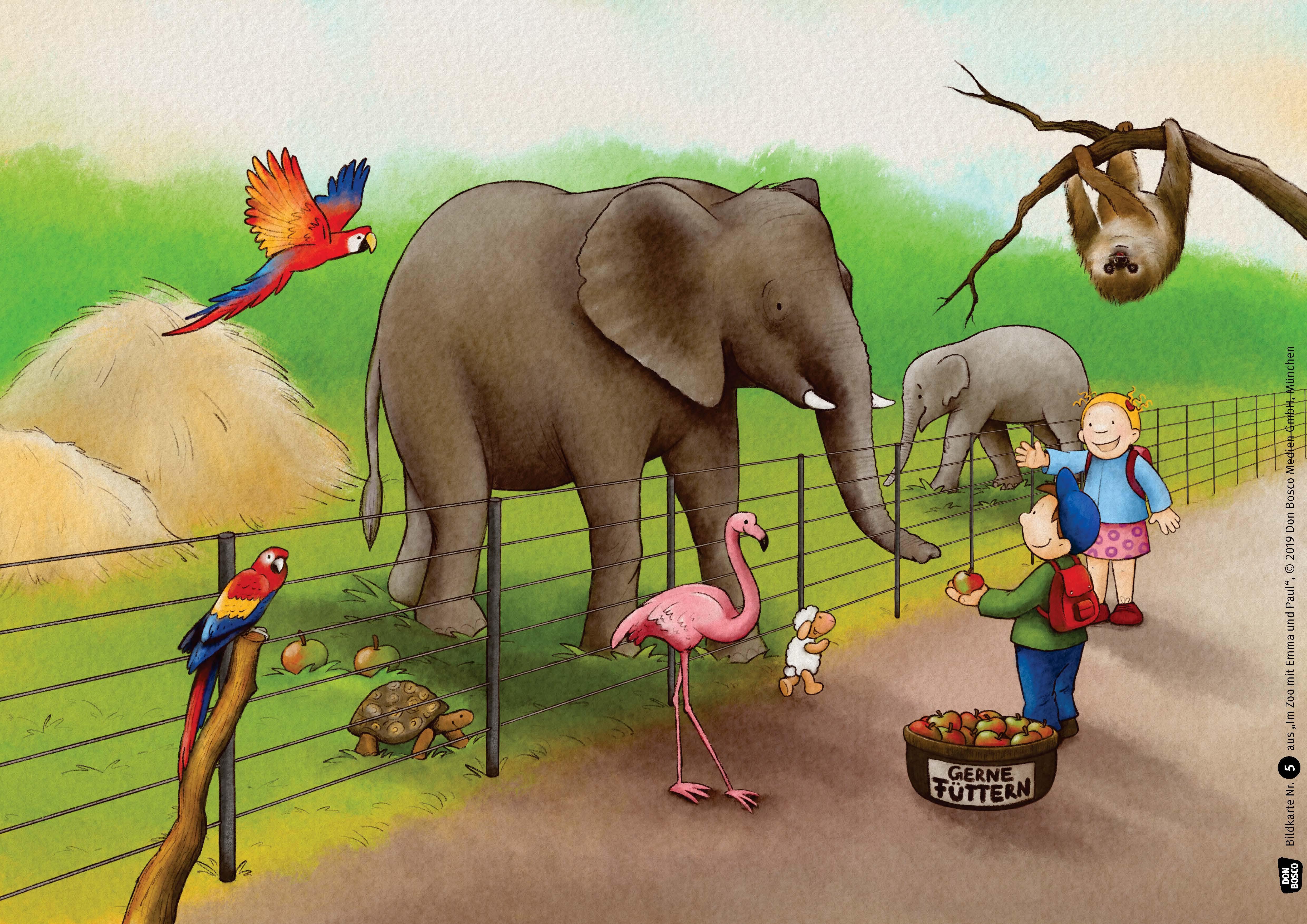 Innenansicht zu Im Zoo mit Emma und Paul. Kamishibai Bildkartenset.