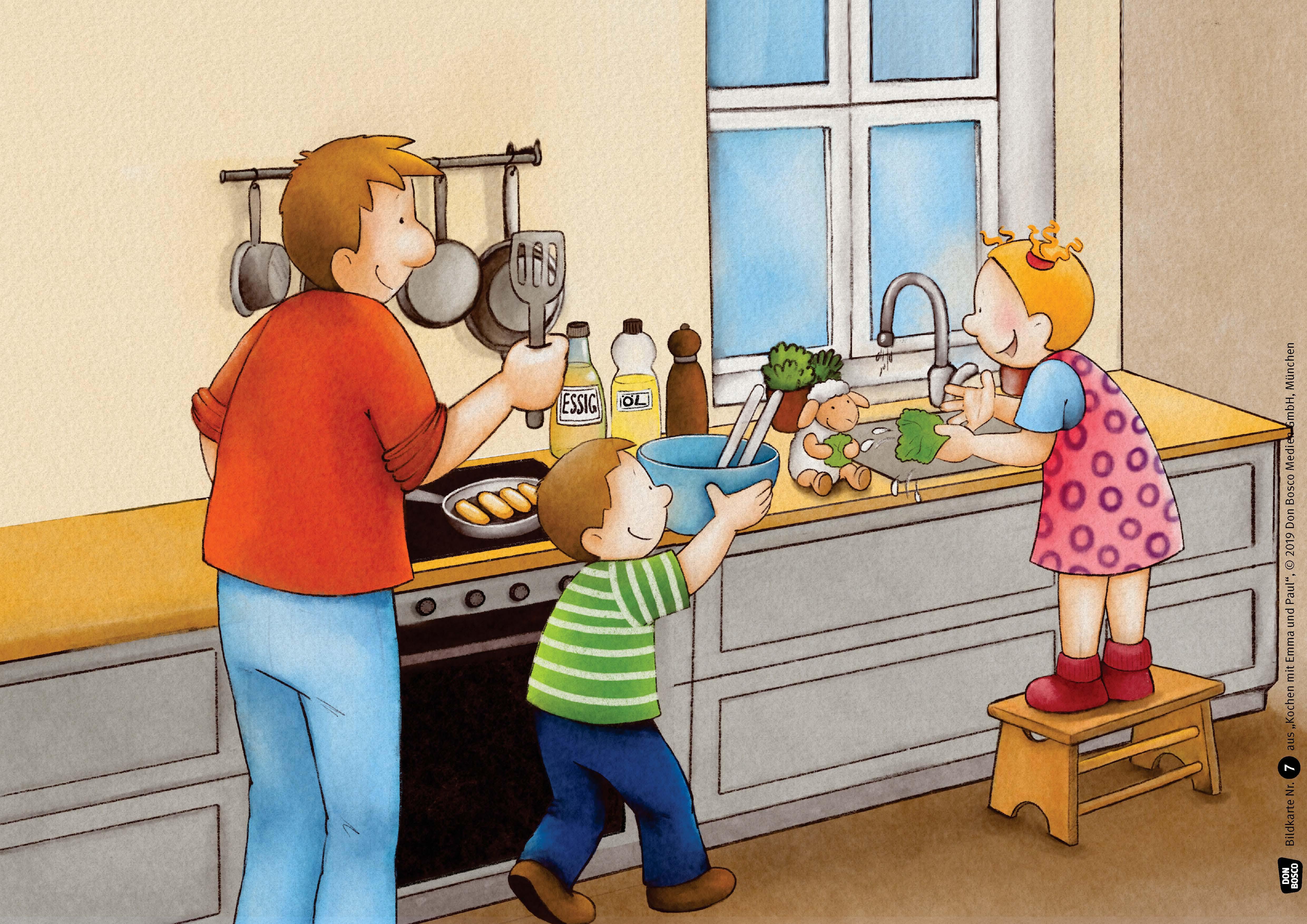 Innenansicht zu Kochen mit Emma und Paul. Kamishibai Bildkartenset.