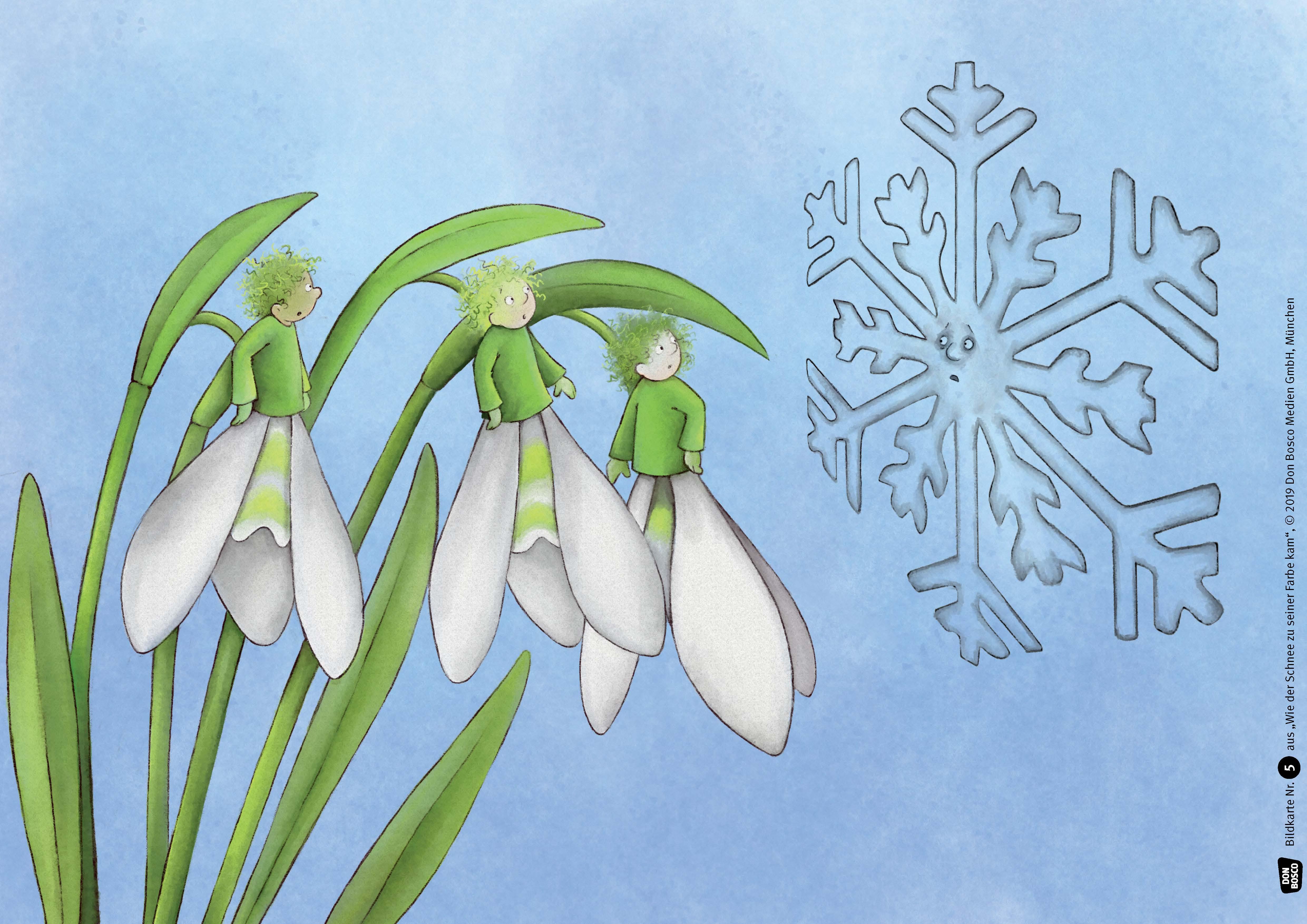 Innenansicht zu Wie der Schnee zu seiner Farbe kam. Kamishibai Bildkartenset.