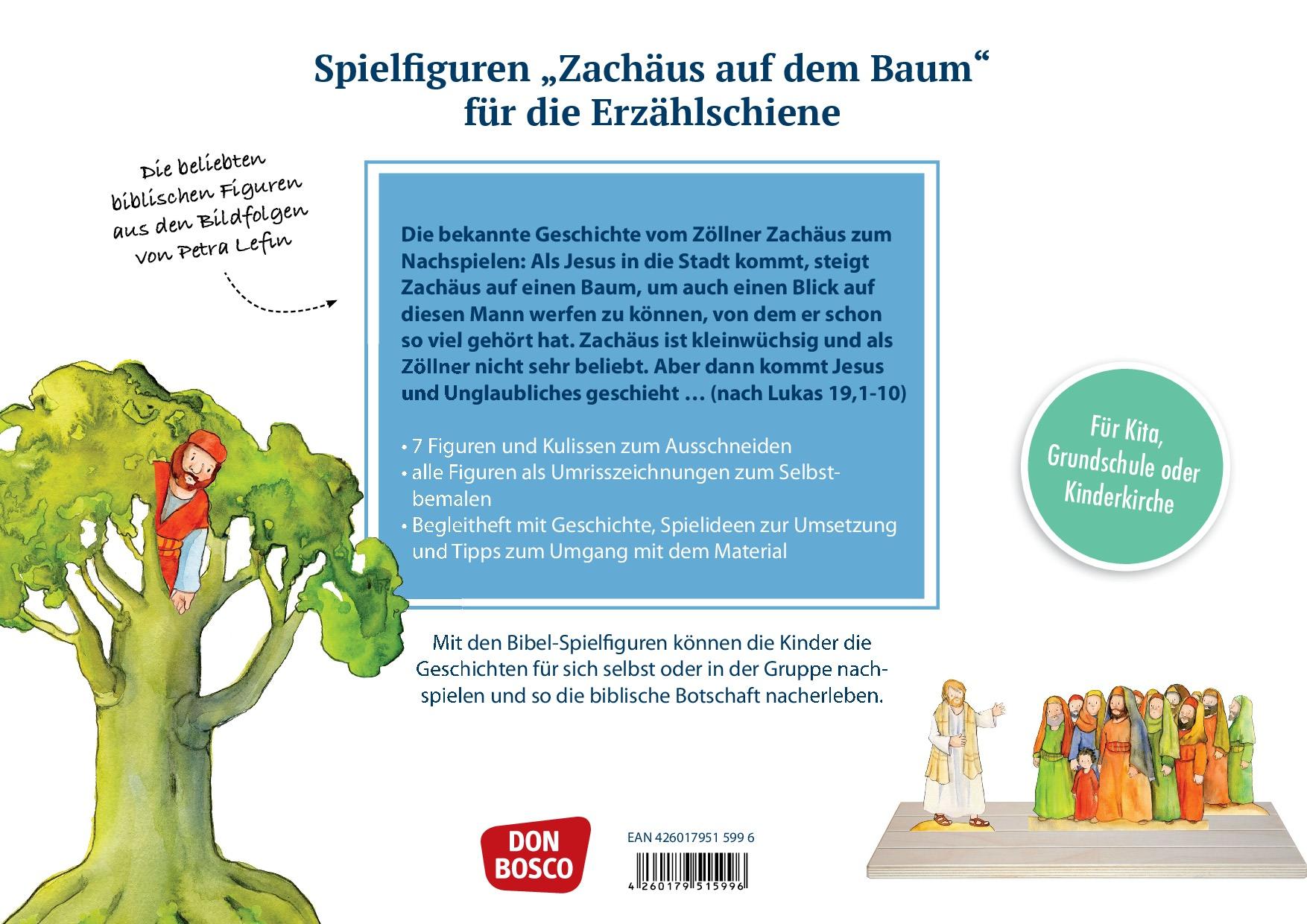 Innenansicht zu Zachäus auf dem Baum. Spielfiguren für die Erzählschiene.