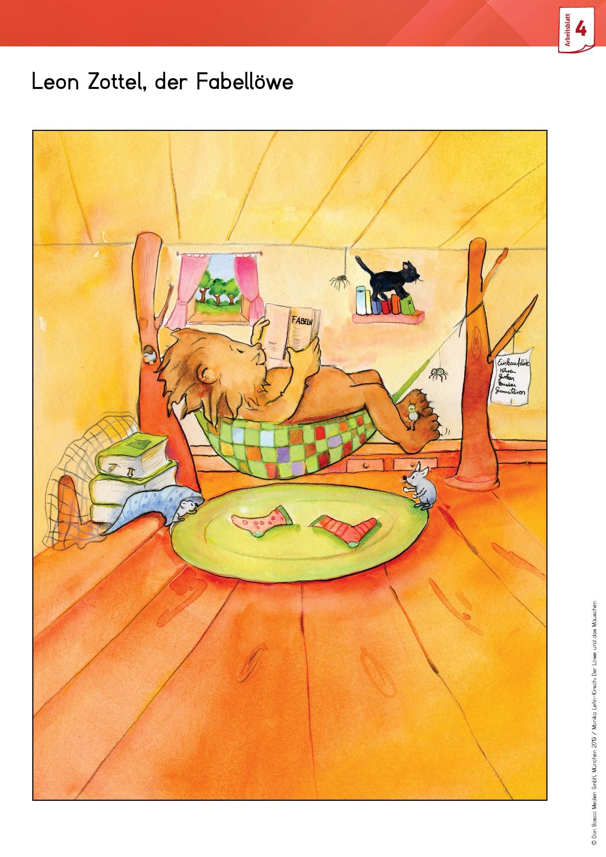 Innenansicht zu Arbeitsmaterial Grundschule. Fabeln für den Deutschunterricht. Der Löwe und das Mäuschen. Eine Fabel von Äsop
