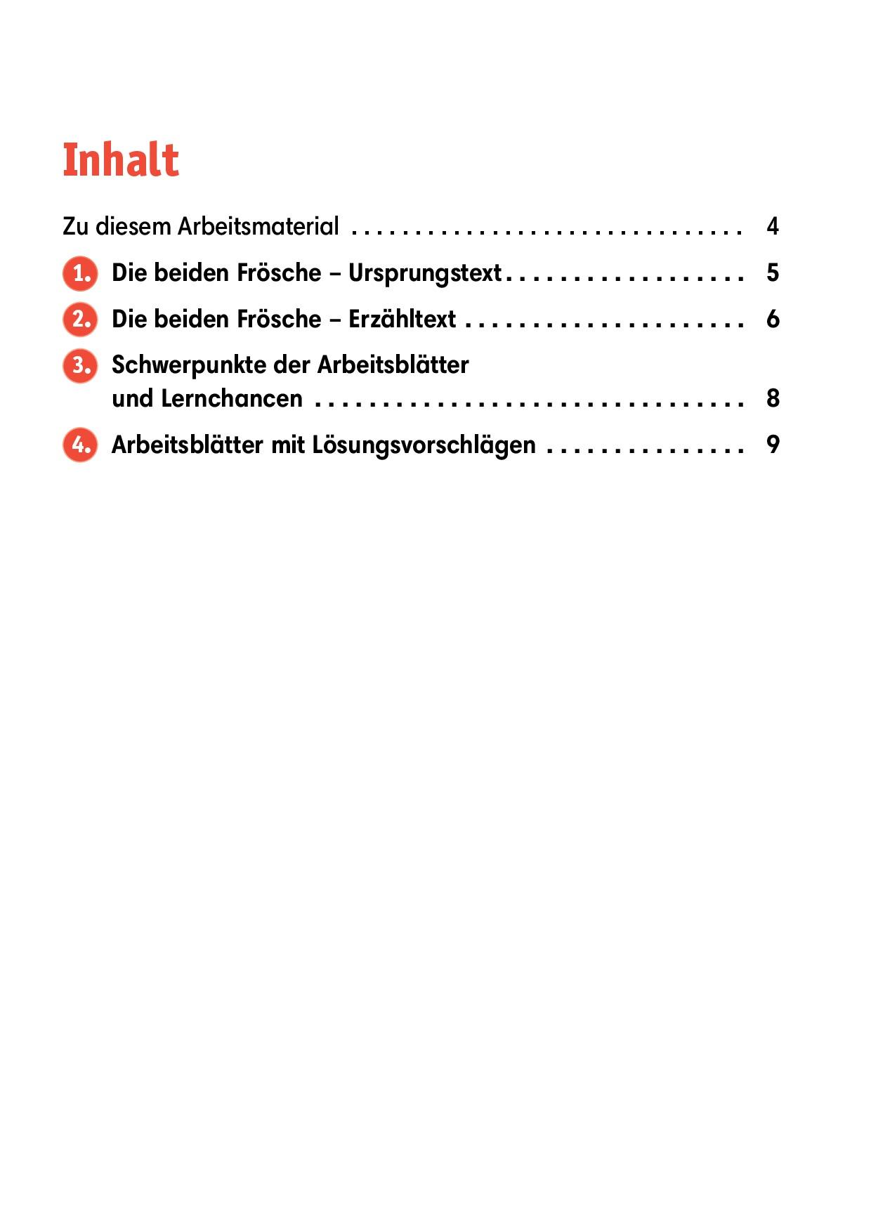 Innenansicht zu Arbeitsmaterial Grundschule. Fabeln für den Deutschunterricht. Die beiden Frösche. Eine Fabel von Äsop.