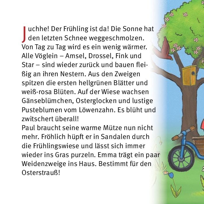 Innenansicht zu Ostern feiern mit Emma und Paul. Mini-Bilderbuch.