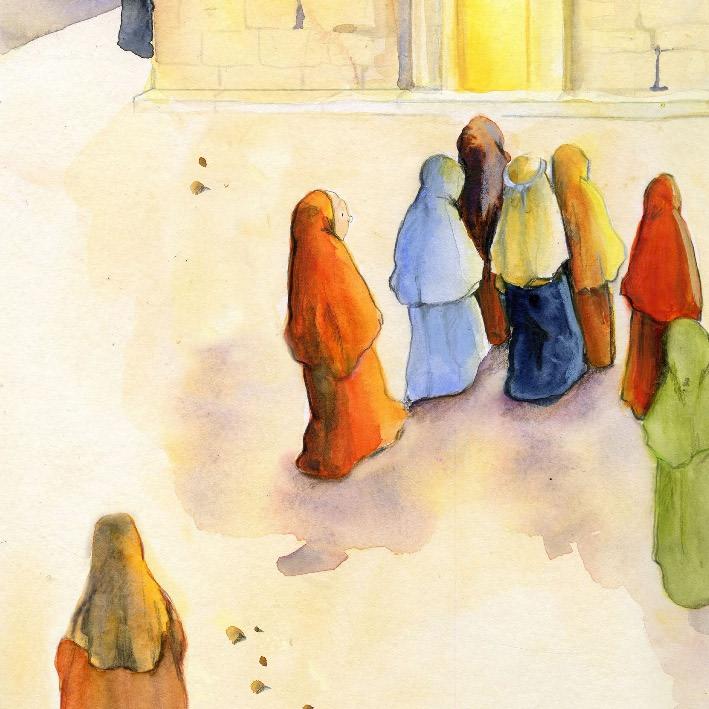 Innenansicht zu Jesus heilt die gekrümmte Frau. Mini-Bilderbuch