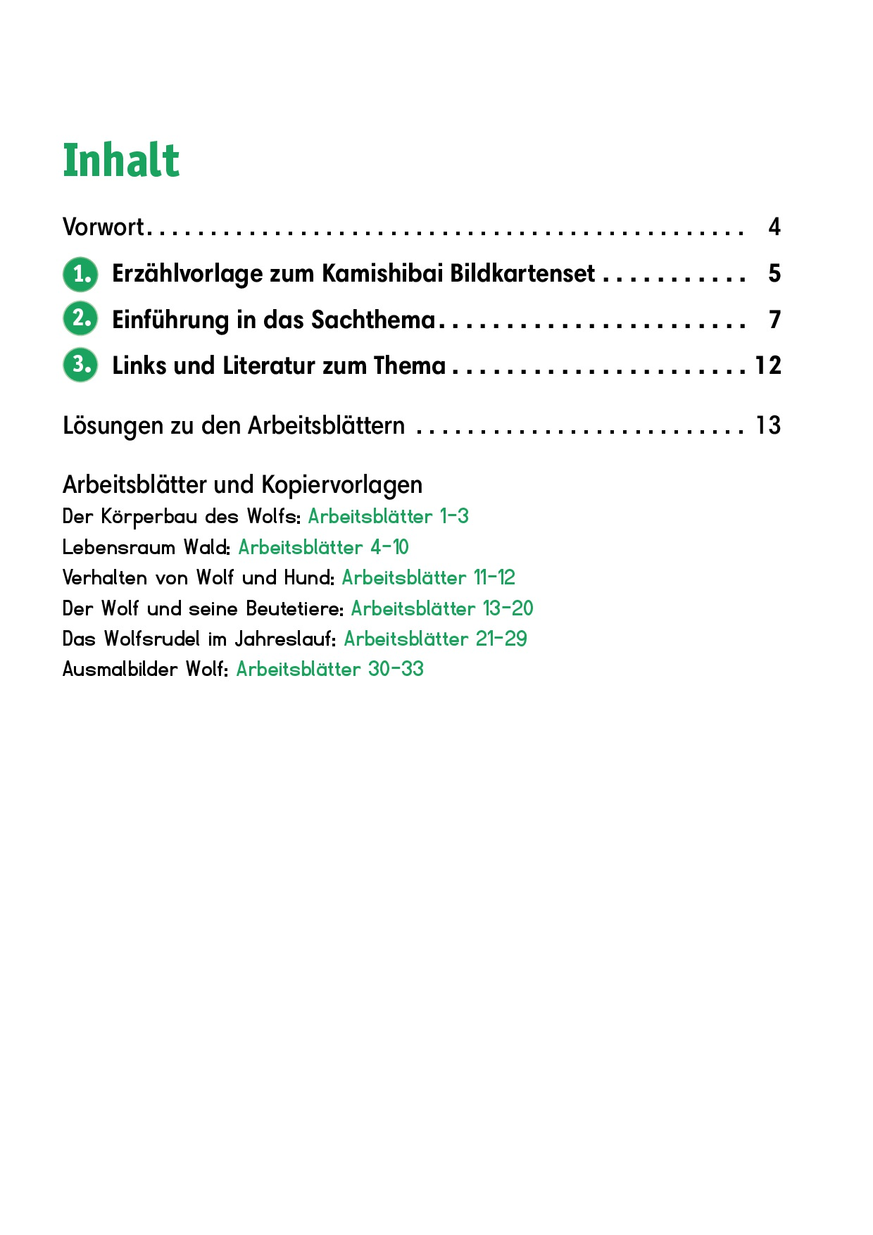 Innenansicht zu Arbeitsmaterial Grundschule. Sachunterricht. Der Wolf.