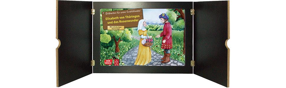 Innenansicht zu Elisabeth von Thüringen und das Rosenwunder. Kamishibai Bildkartenset.