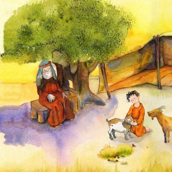 Innenansicht zu Abraham und Isaak. Mini-Bilderbuch.