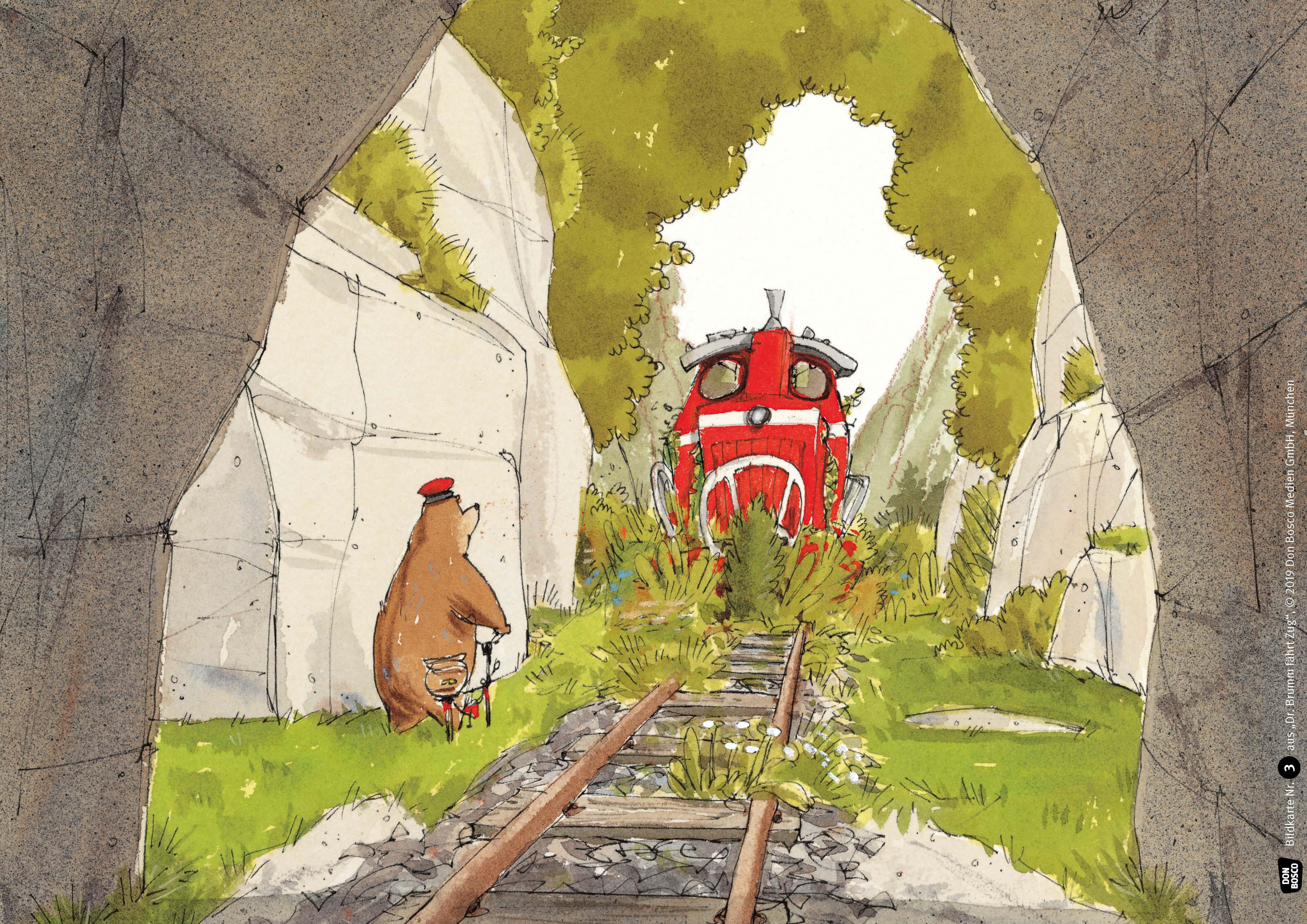 Innenansicht zu Dr. Brumm fährt Zug. Kamishibai Bildkartenset.