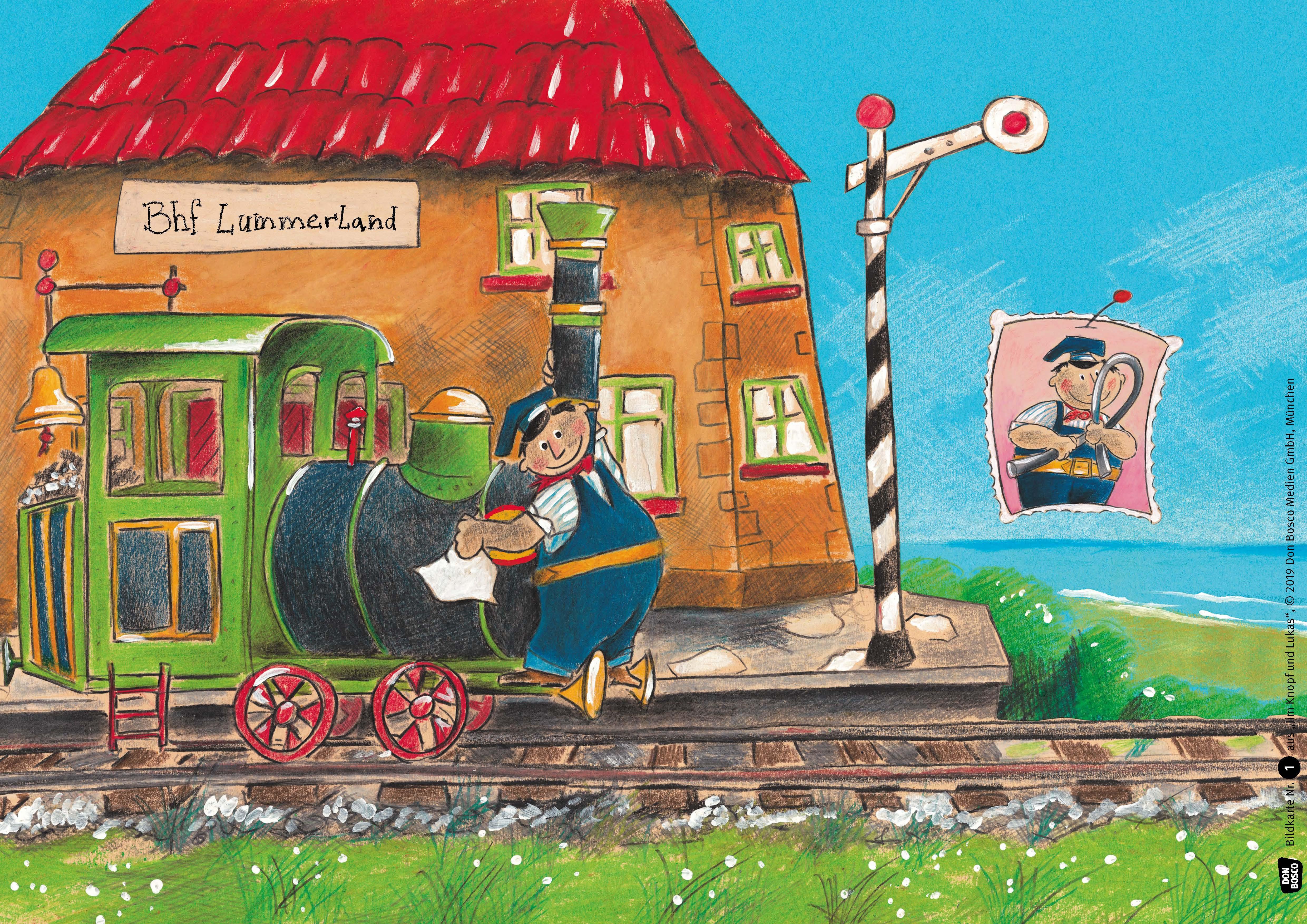 Innenansicht zu Jim Knopf und Lukas der Lokomotivführer machen einen Ausflug. Kamishibai Bildkartenset.