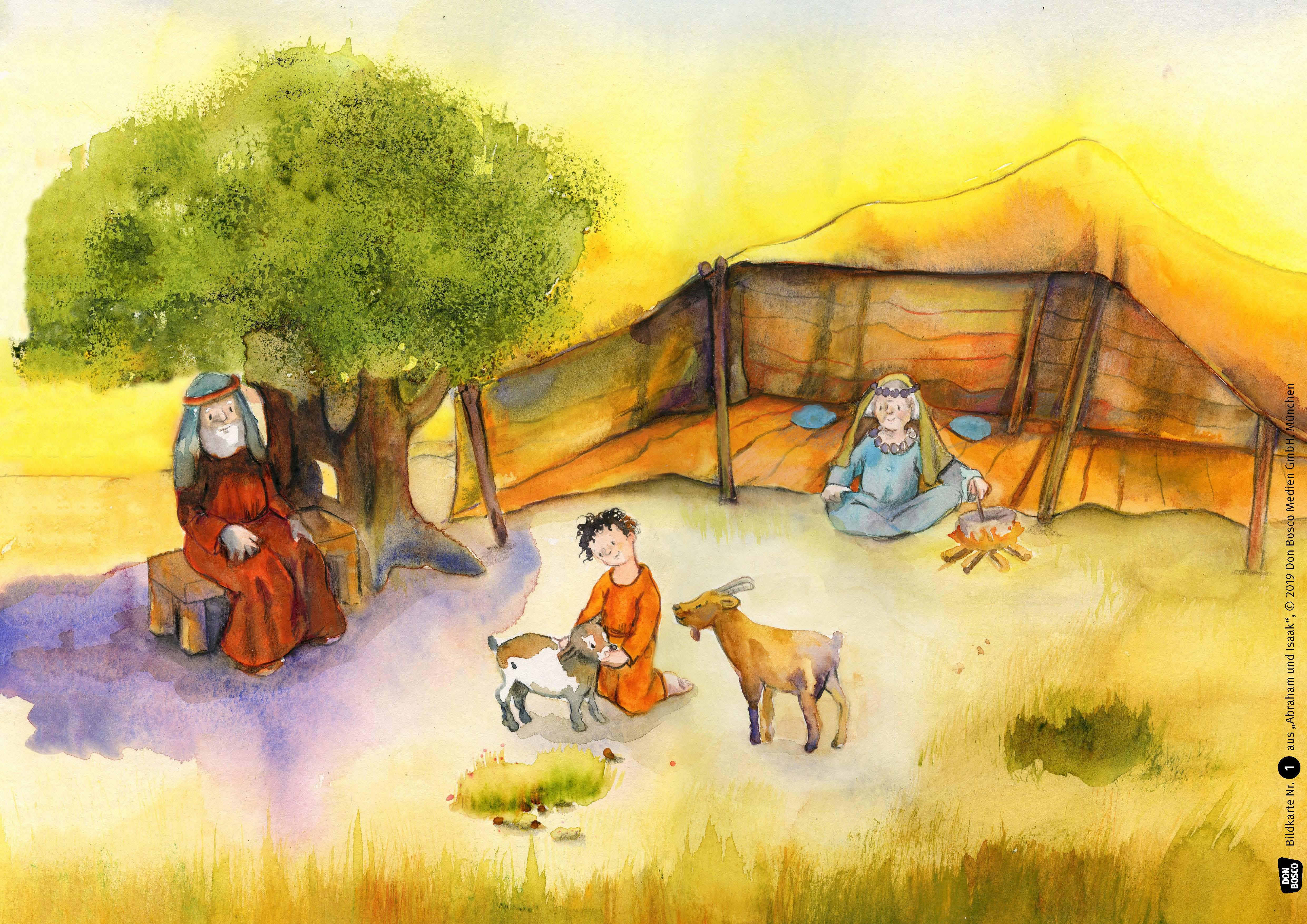 Innenansicht zu Abraham und Isaak. Kamishibai Bildkartenset.