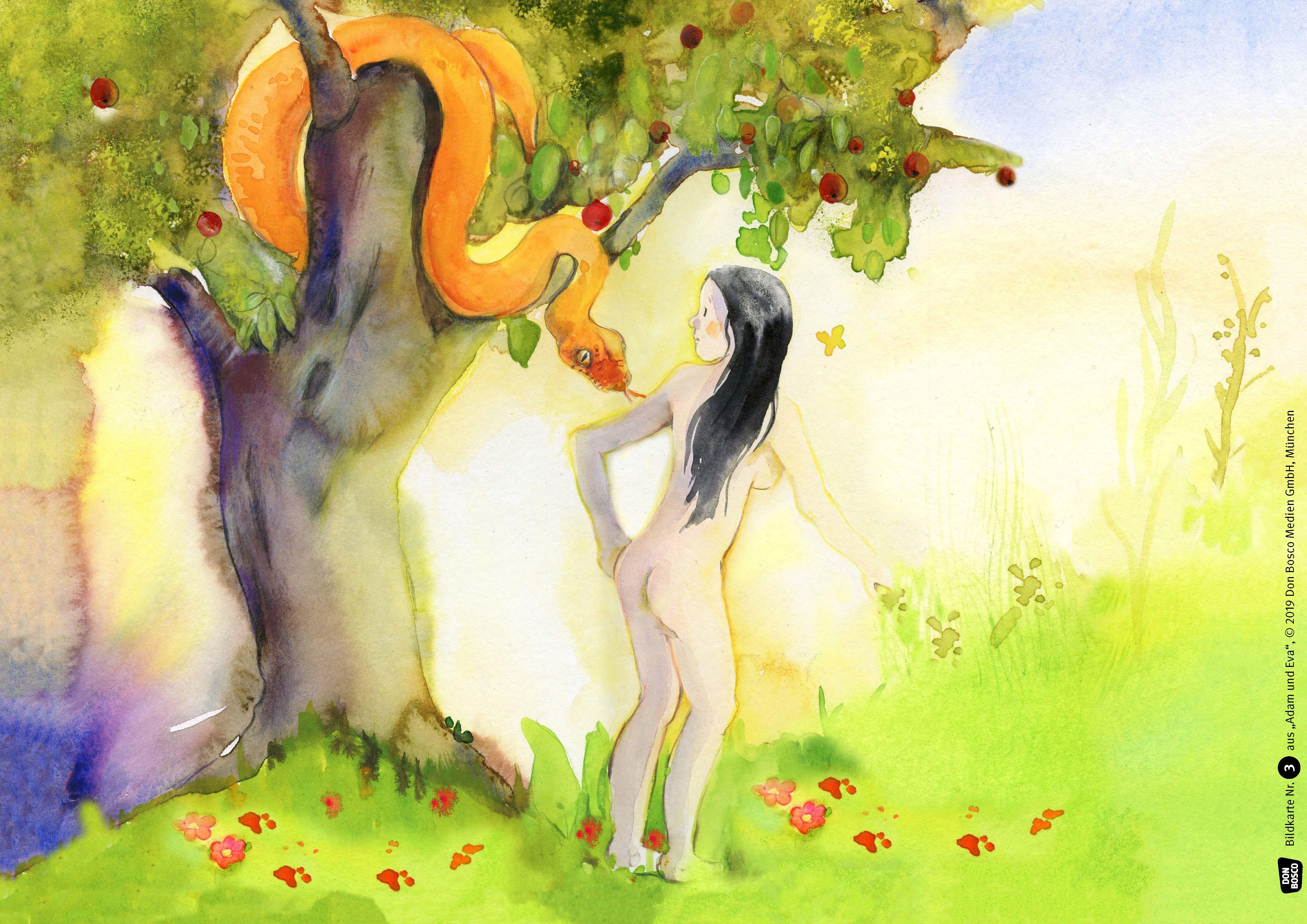 Innenansicht zu Adam und Eva. Kamishibai Bildkartenset.