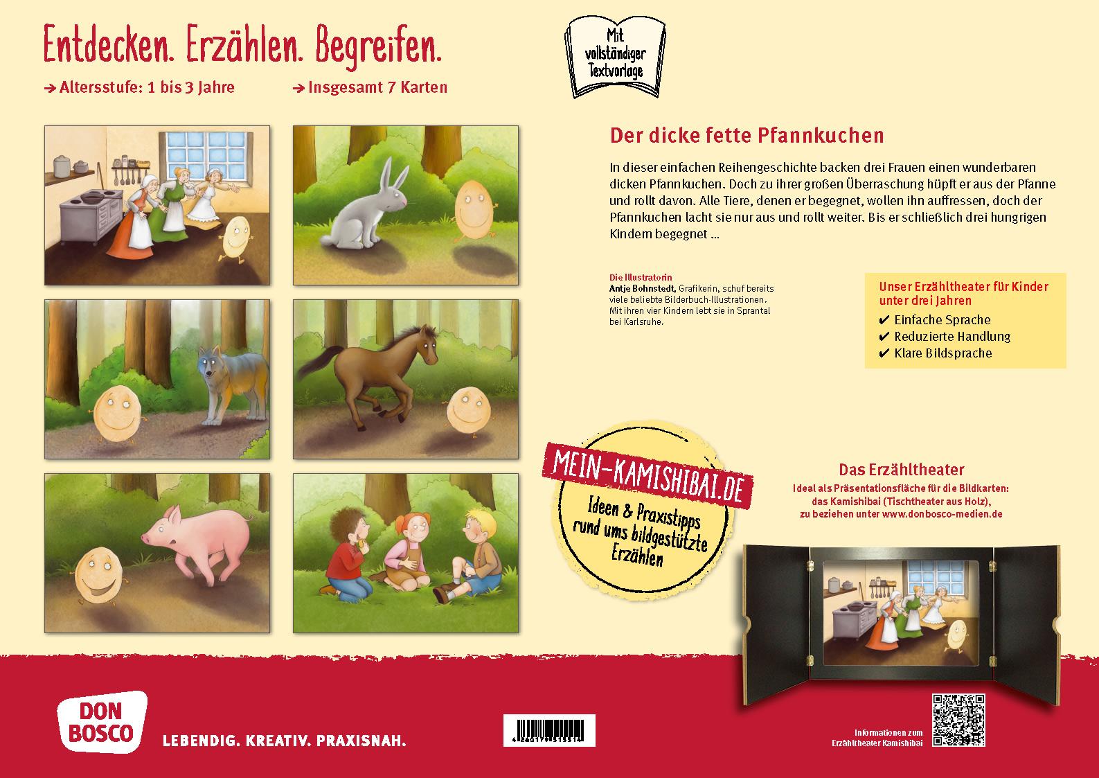 Innenansicht zu Der dicke fette Pfannkuchen. Kamishibai Bildkartenset.