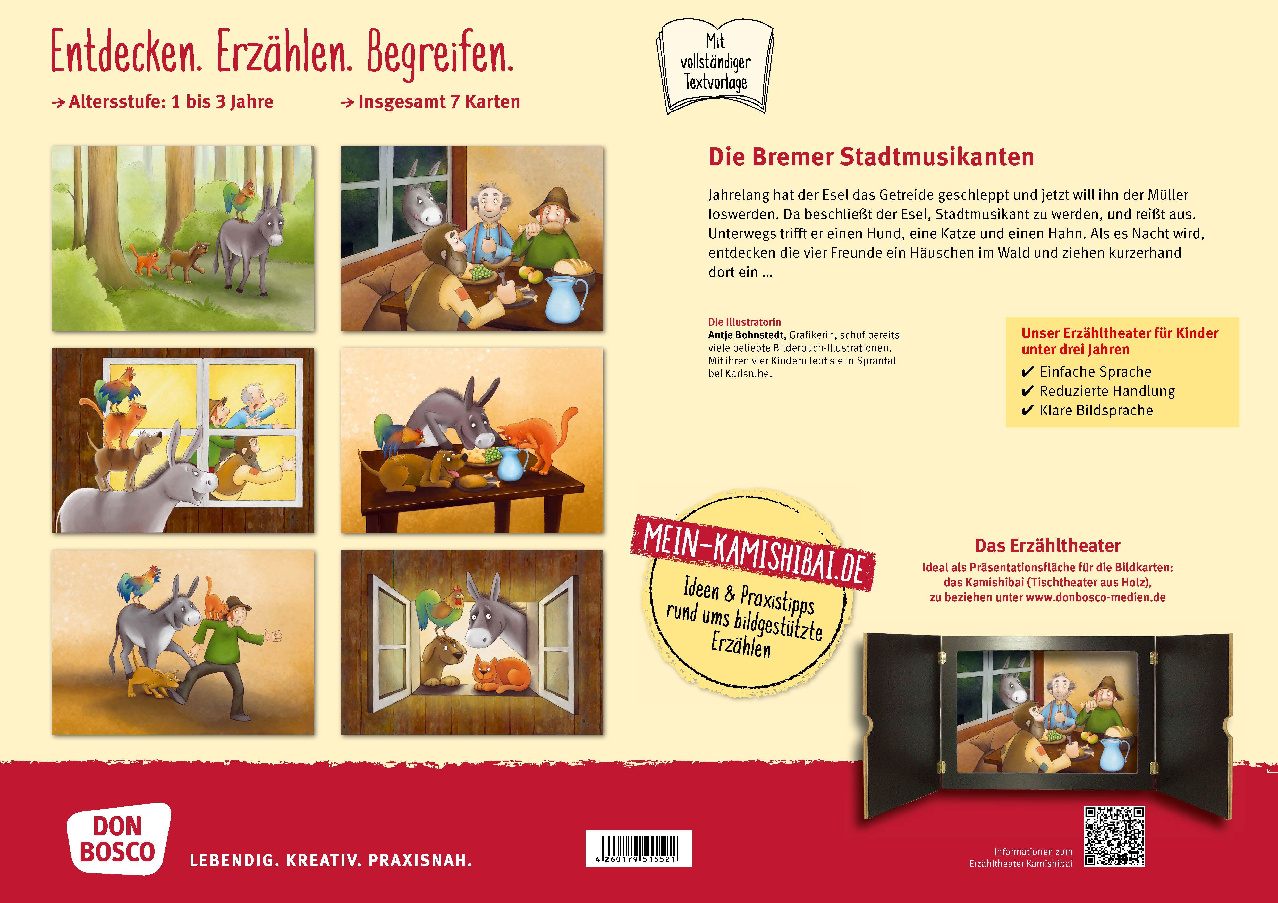 Innenansicht zu Die Bremer Stadtmusikanten. Kamishibai Bildkartenset.