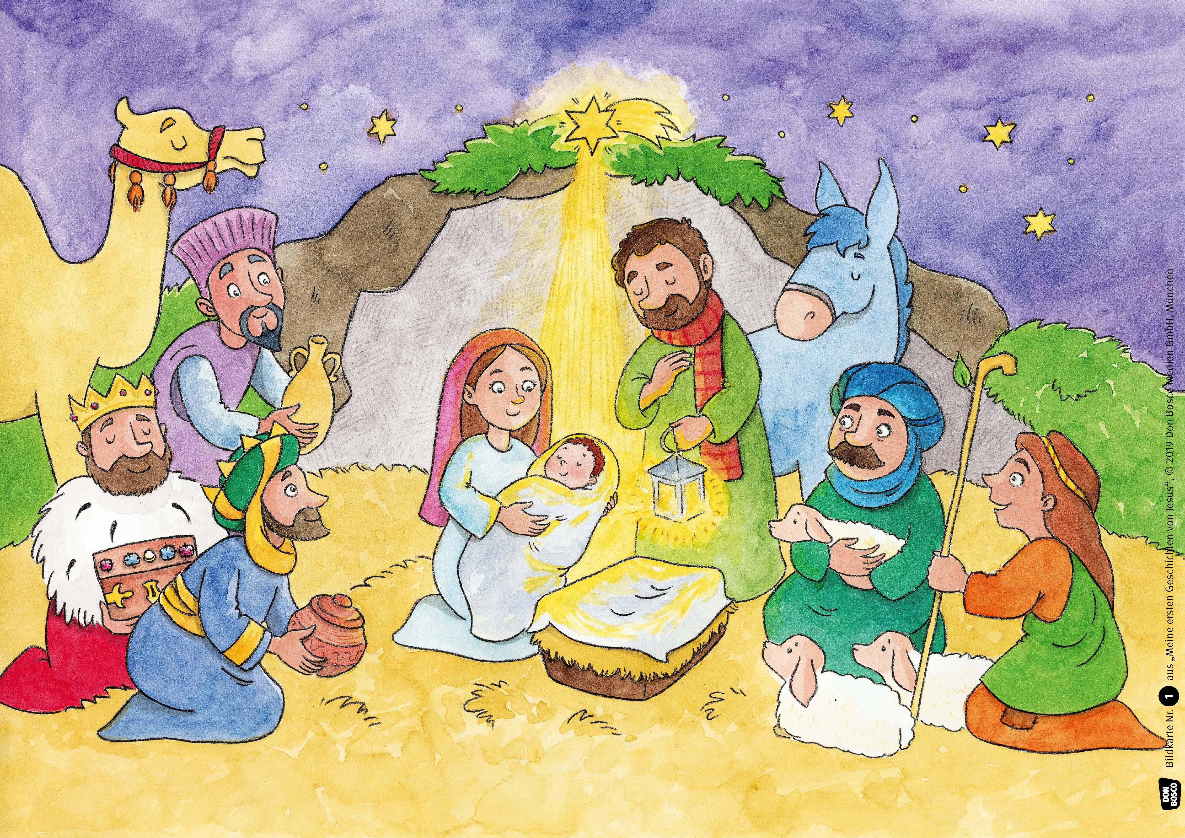 Innenansicht zu Meine ersten Geschichten von Jesus. Die U3-Bibel im Kamishibai. Kamishibai Bildkartenset.