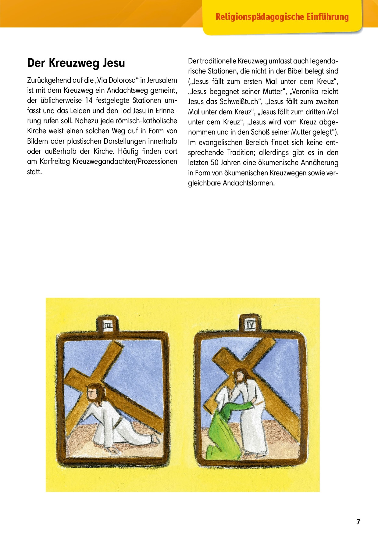 Innenansicht zu Arbeitsmaterial Grundschule. Stationenlernen Religion. Der Kreuzweg Jesu