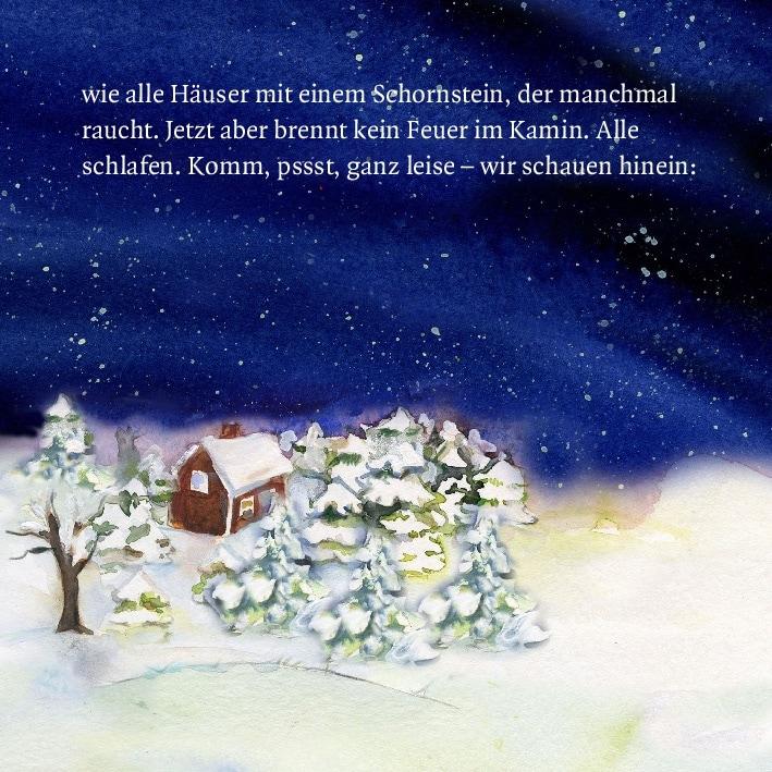 Innenansicht zu Als Santa Claus mit dem Schlitten kam. Mini-Bilderbuch.