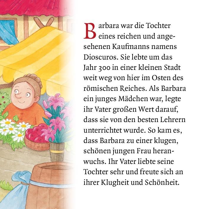 Innenansicht zu Die heilige Barbara und der Kirschblütenzweig. Mini-Bilderbuch.