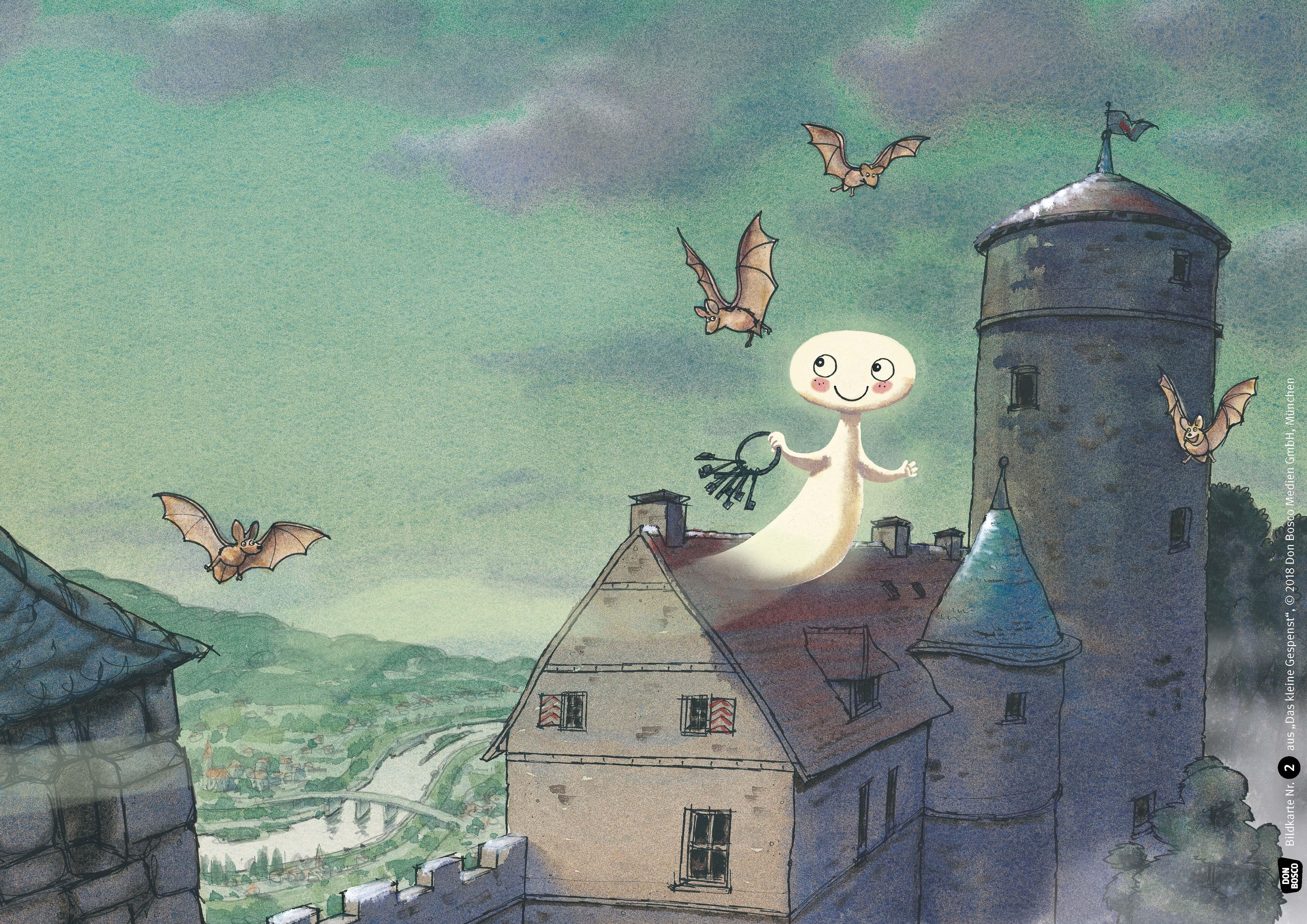 Innenansicht zu Das kleine Gespenst. Tohuwabohu auf Burg Eulenstein. Kamishibai Bildkartenset.