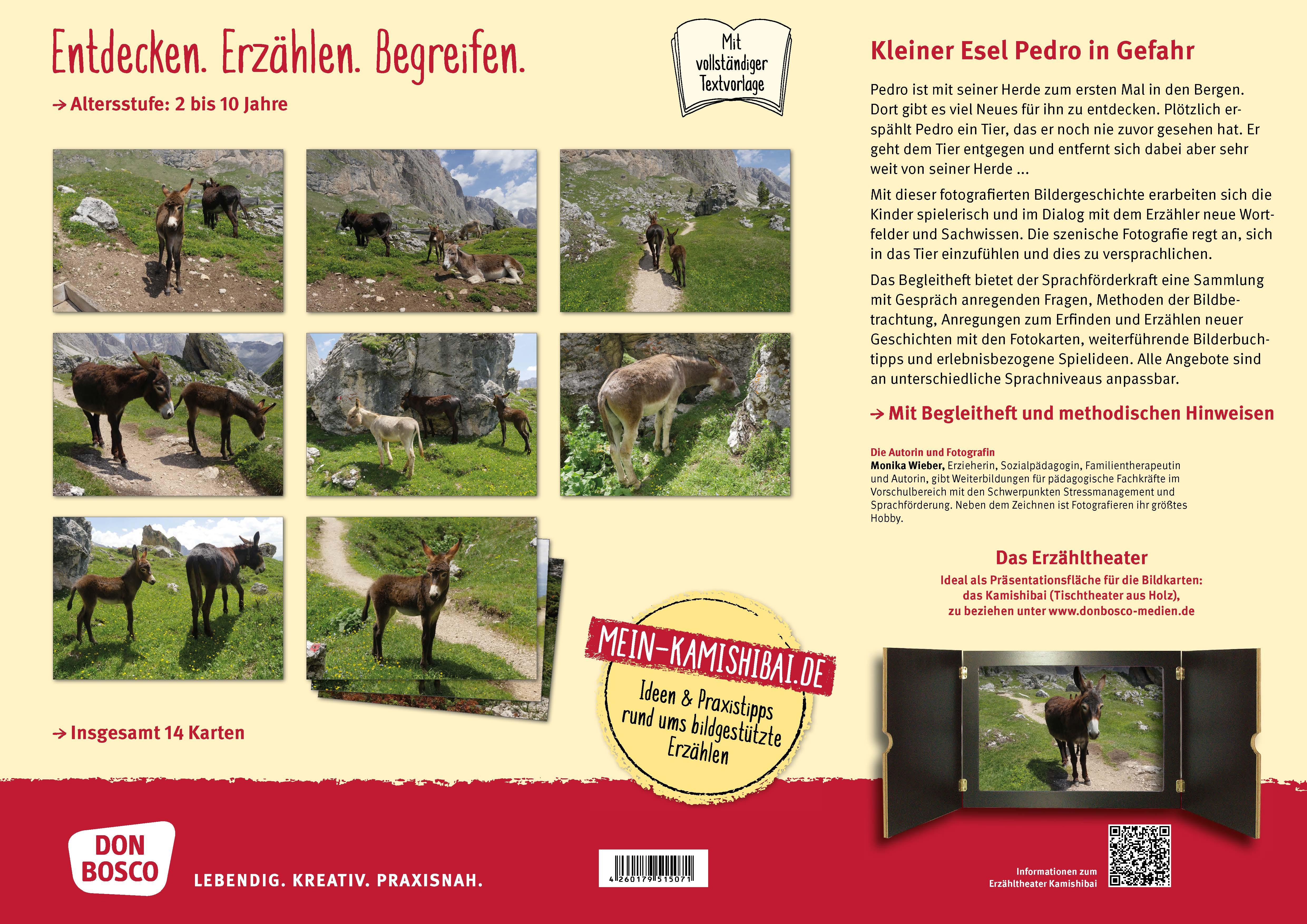Innenansicht zu Kleiner Esel Pedro in Gefahr. Kamishibai Bildkartenset.