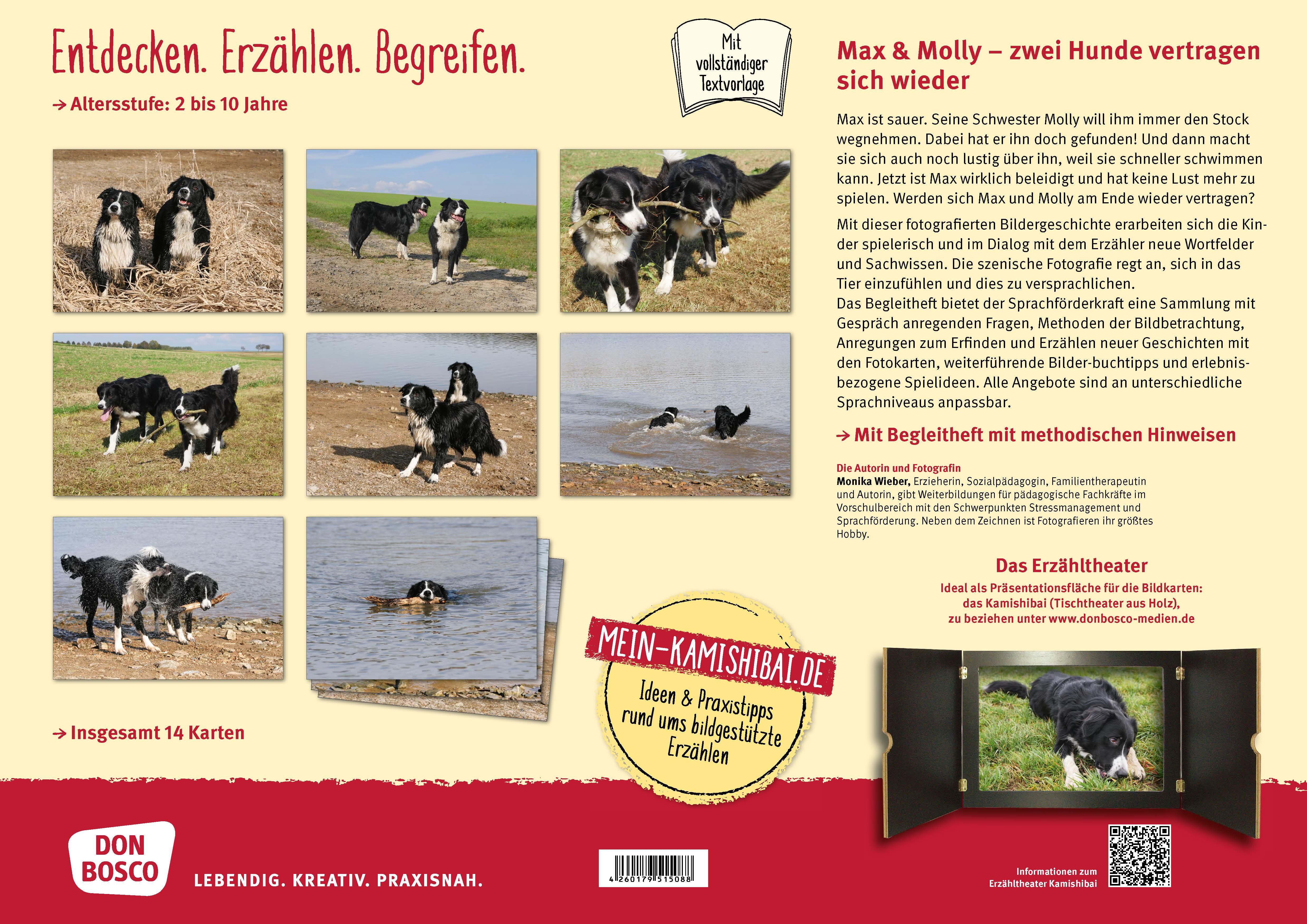 Innenansicht zu Max und Molly - zwei Hunde vertragen sich wieder. Kamishibai Bildkartenset.