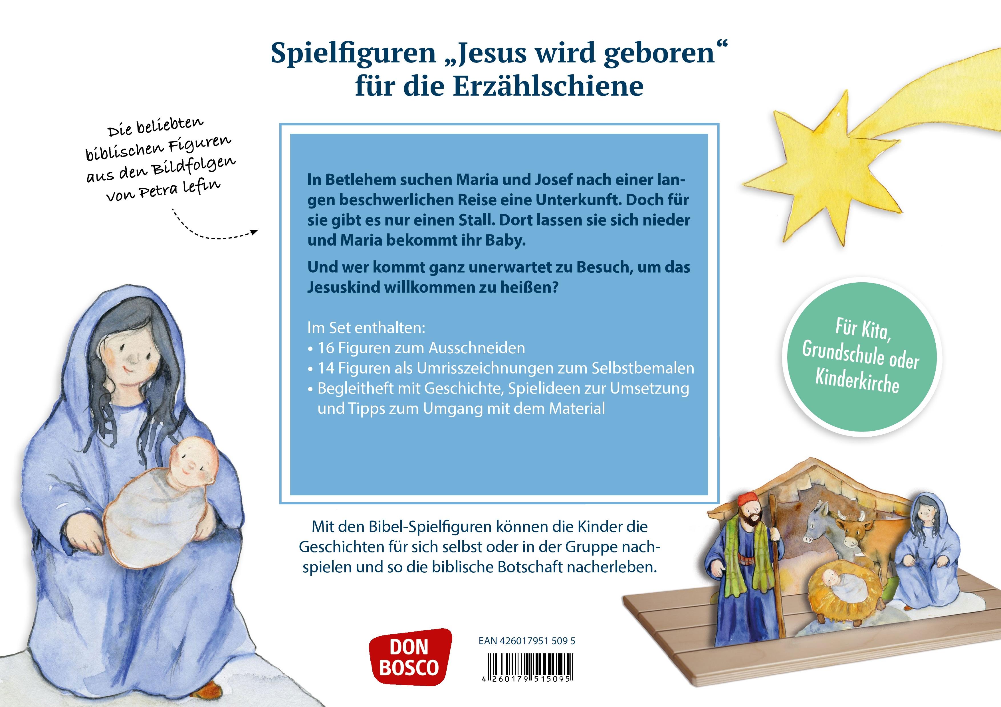 Innenansicht zu Jesus wird geboren. Spielfiguren für die Erzählschiene.
