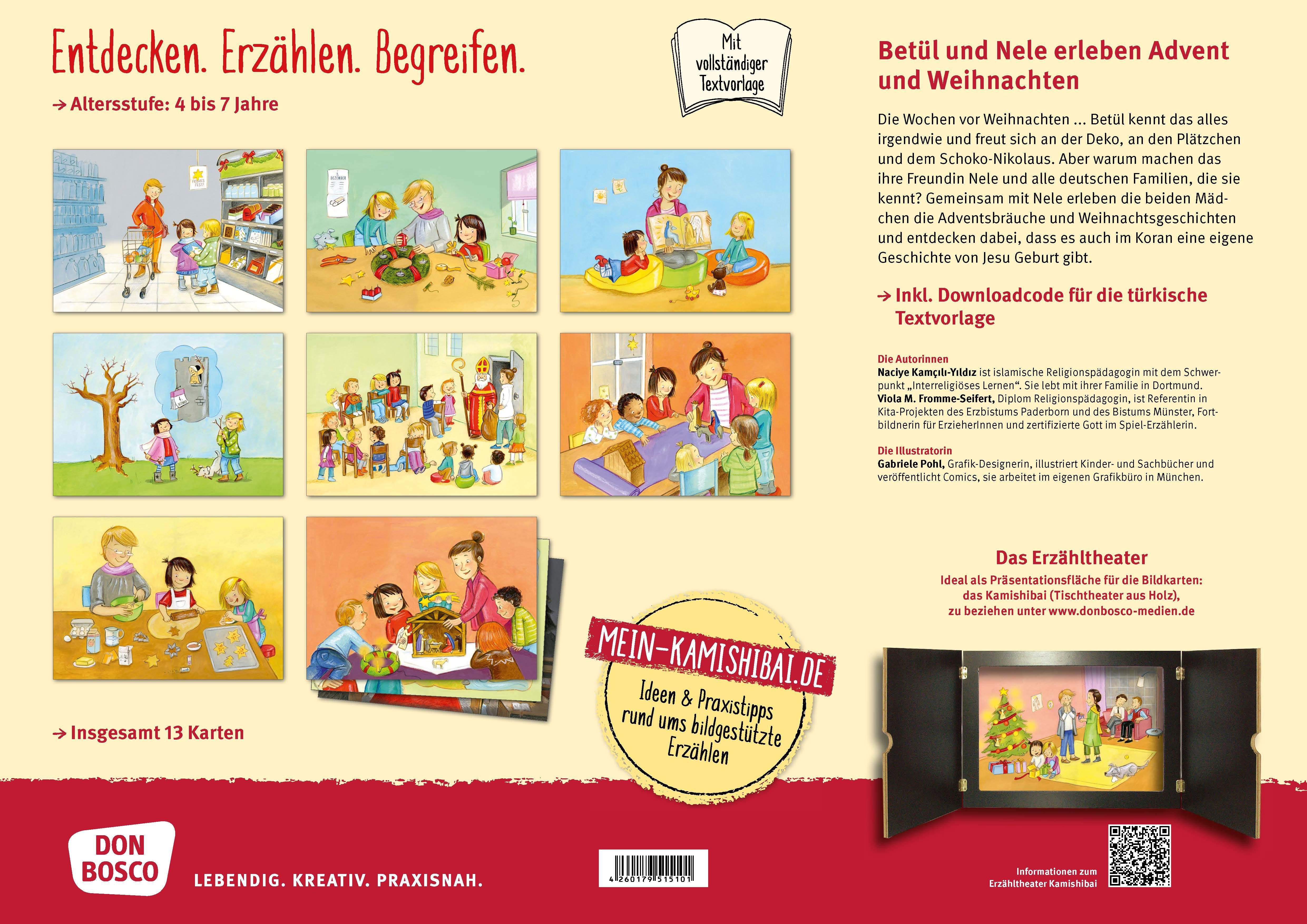 Innenansicht zu Betül und Nele erleben Advent und Weihnachten. Kamishibai Bildkartenset.